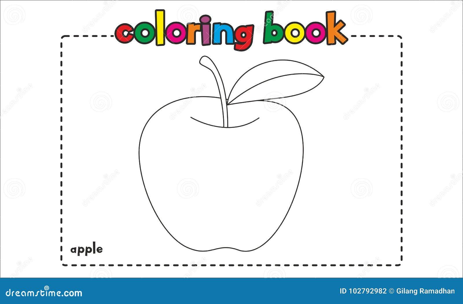 Libro De Colorear Simple De La Manzana Para Los Niños Y Los Niños ...