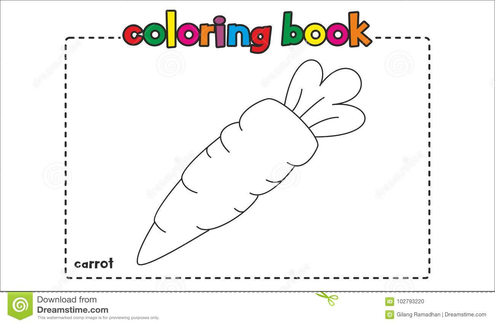 Libro De Colorear Simple De La Zanahoria Para Los Niños Y Los Niños