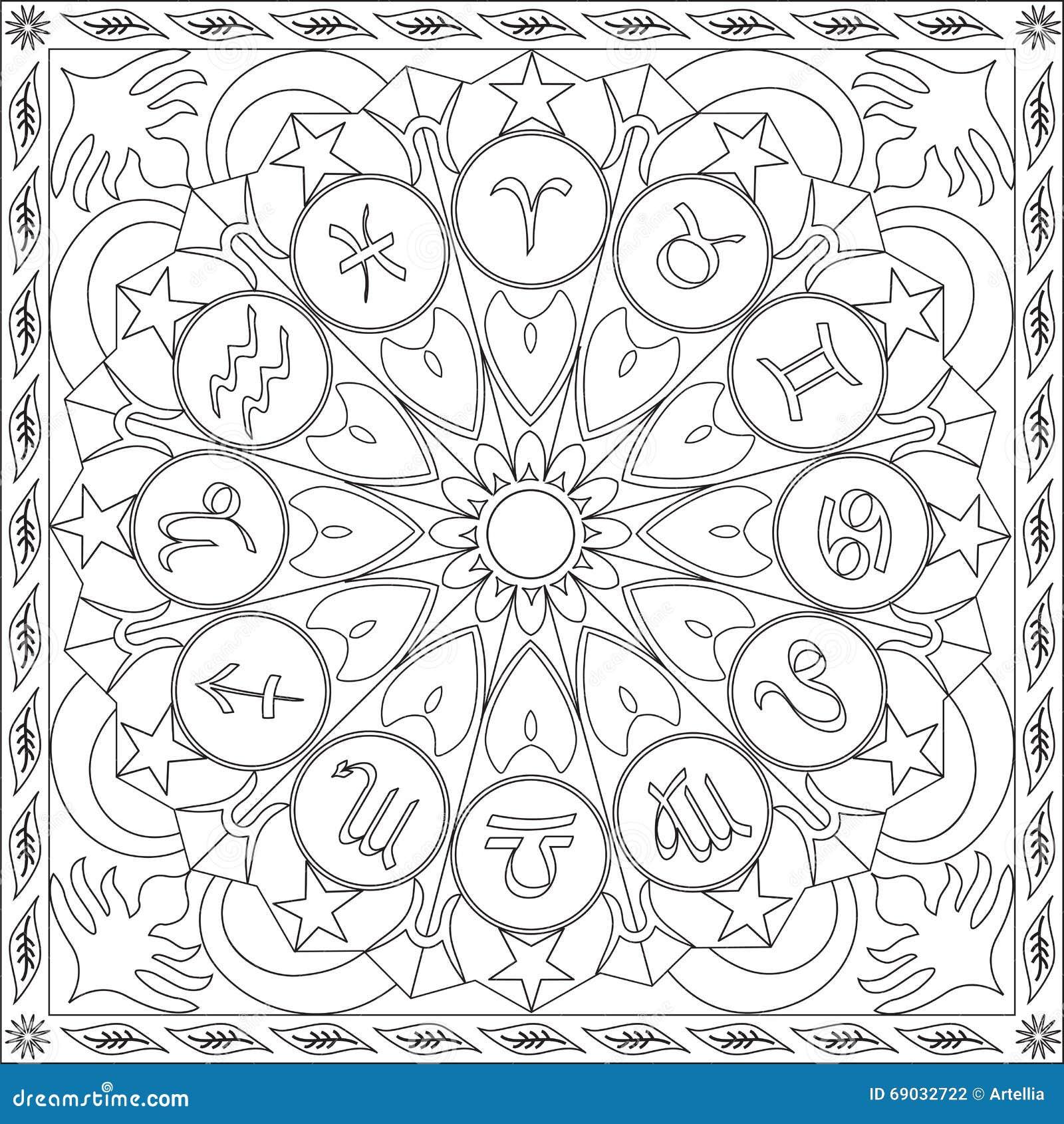 Libro De La Página Que Colorea Para La Rueda Cuadrada Mandala Design ...