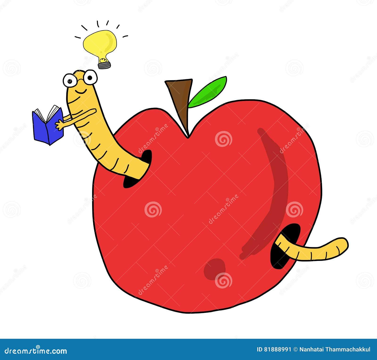 Libro de lectura del gusano en manzana roja