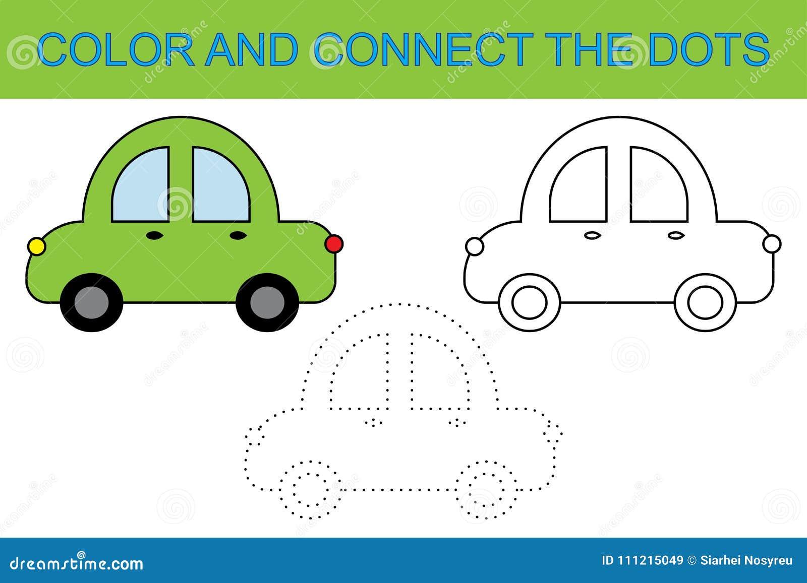 Libro di coloritura Colleghi i punti per creare l automobile Attività per i bambini