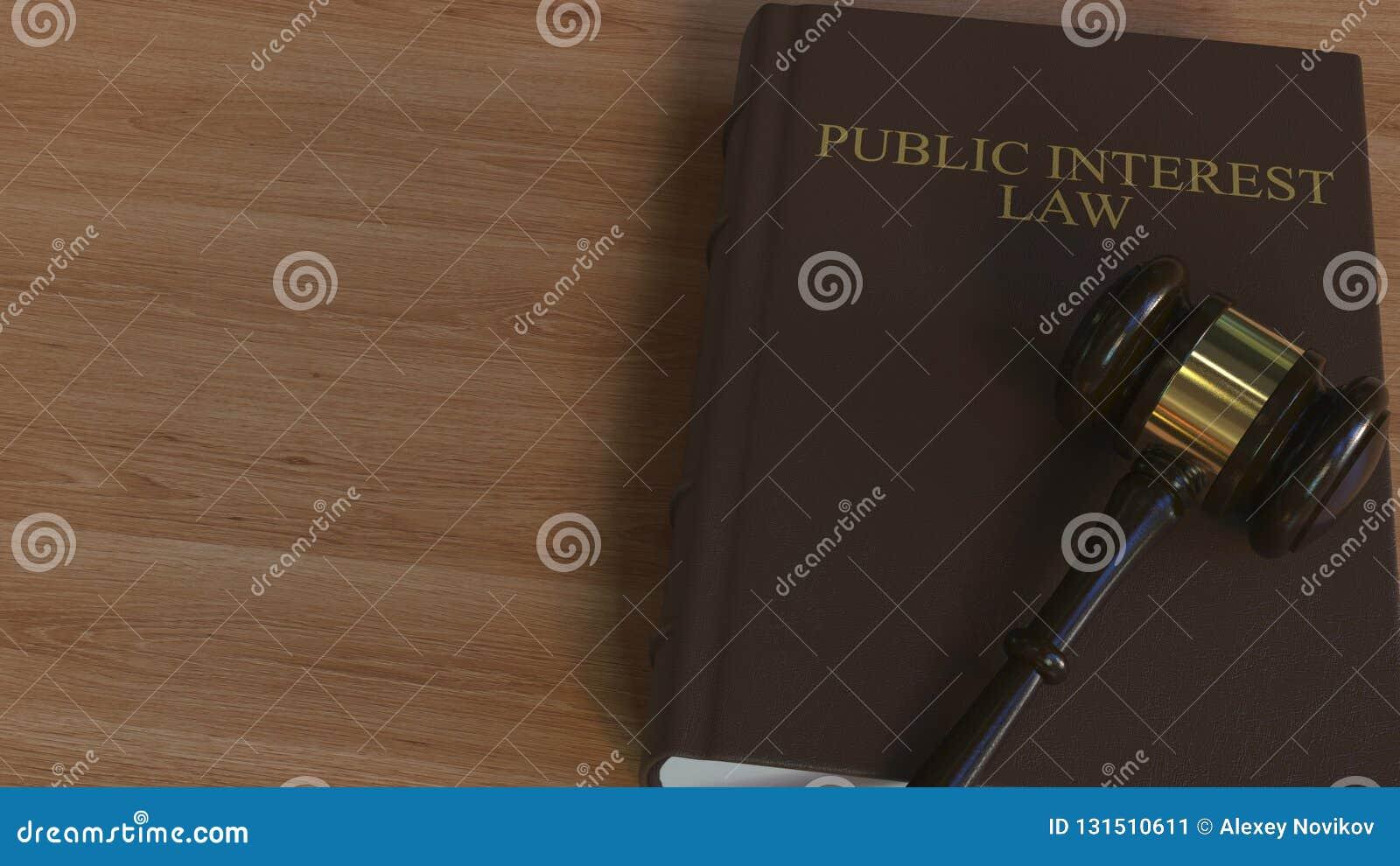 Libro di LEGGE di INTERESSE PUBBLICO e martelletto della corte rappresentazione 3d