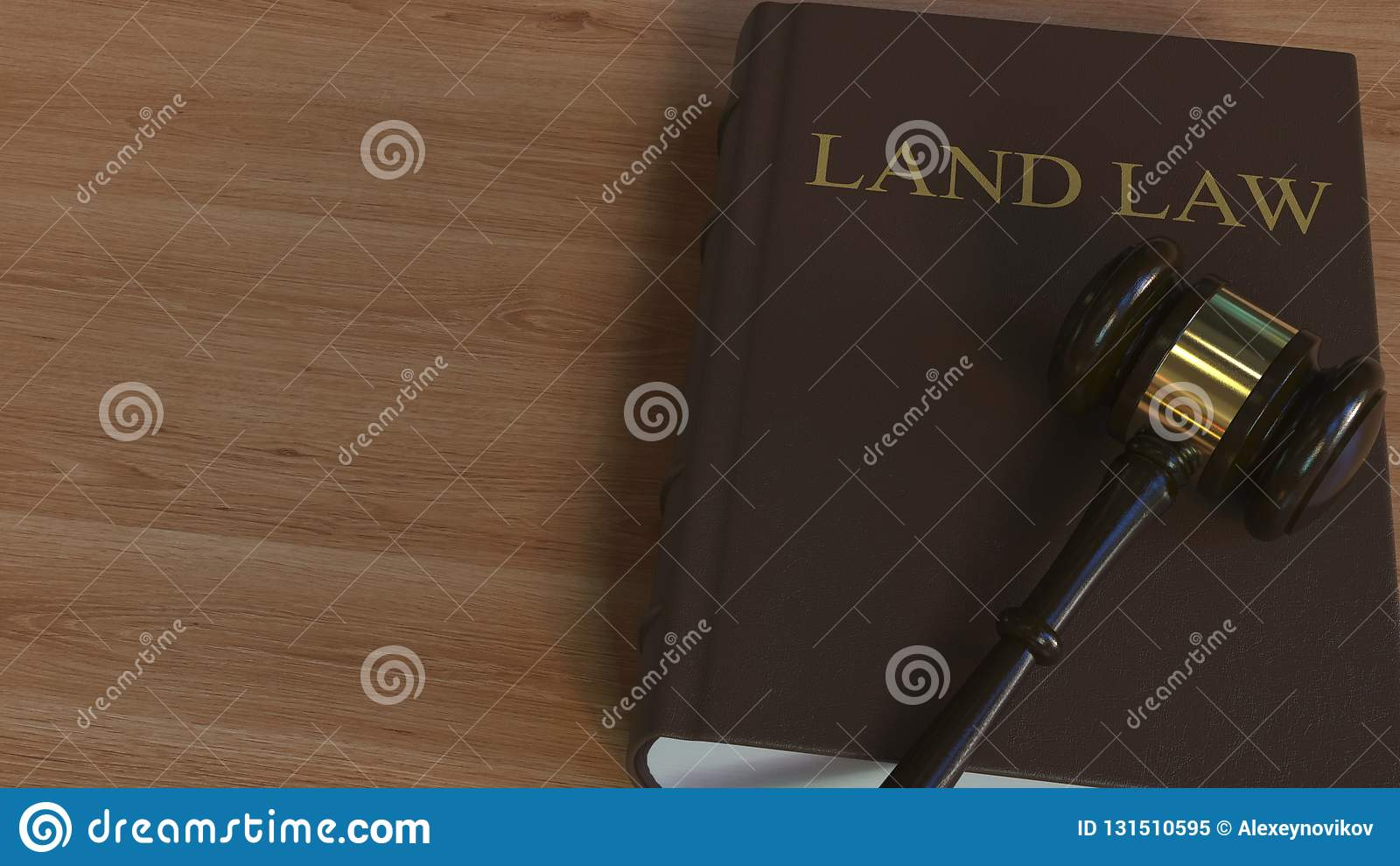 Libro di LEGGE TERRIERA e martelletto della corte rappresentazione 3d