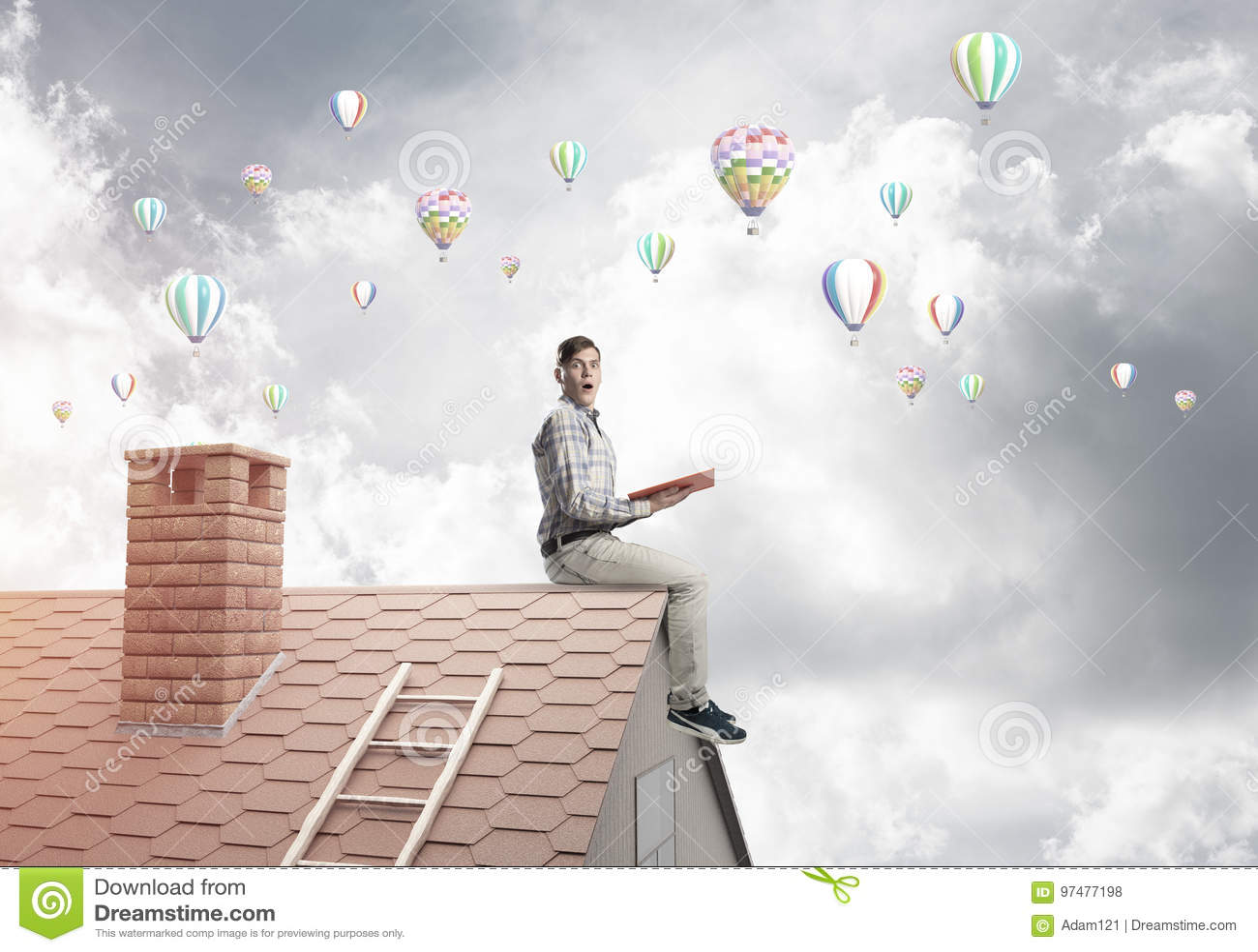 Libro di lettura bello del tipo dello studente ed aerostati che volano in aria
