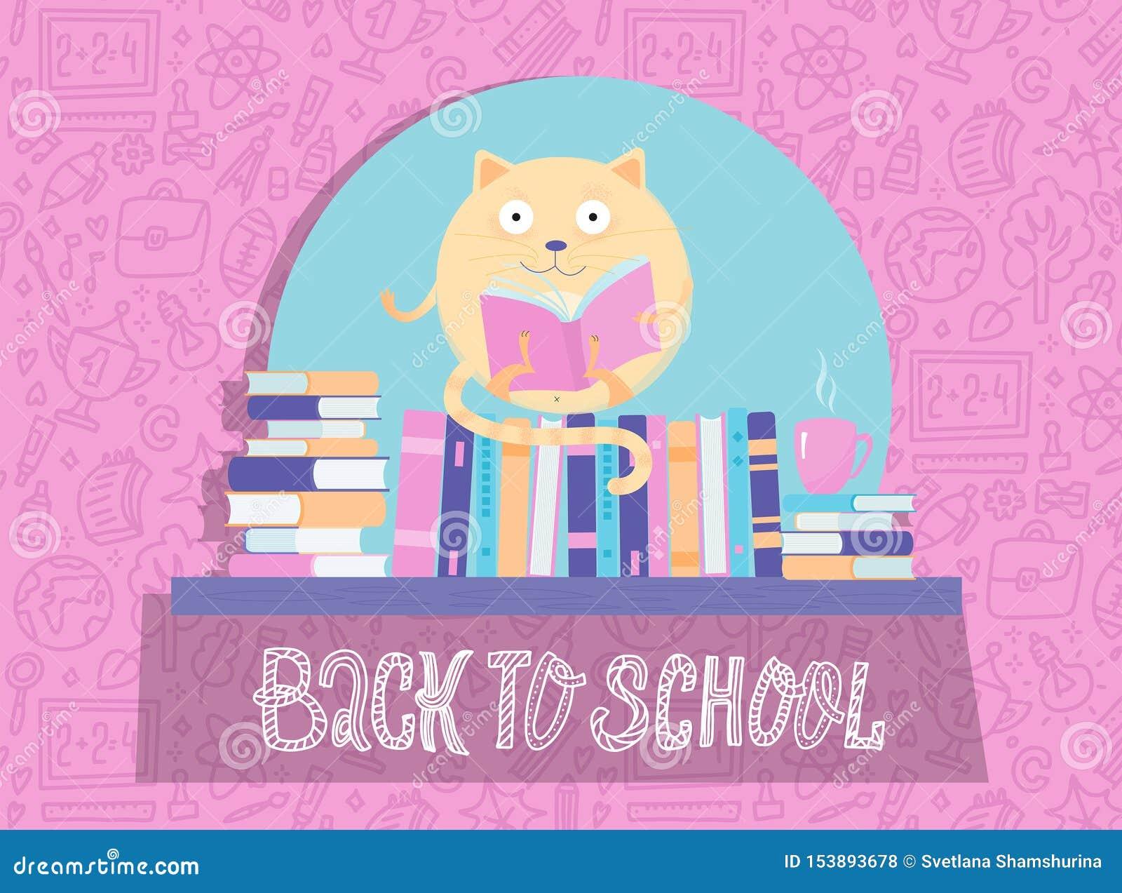 Libro di lettura divertente di Cat Character del giro sullo scaffale di libro Di nuovo alla bandiera di banco Il icharacter del f