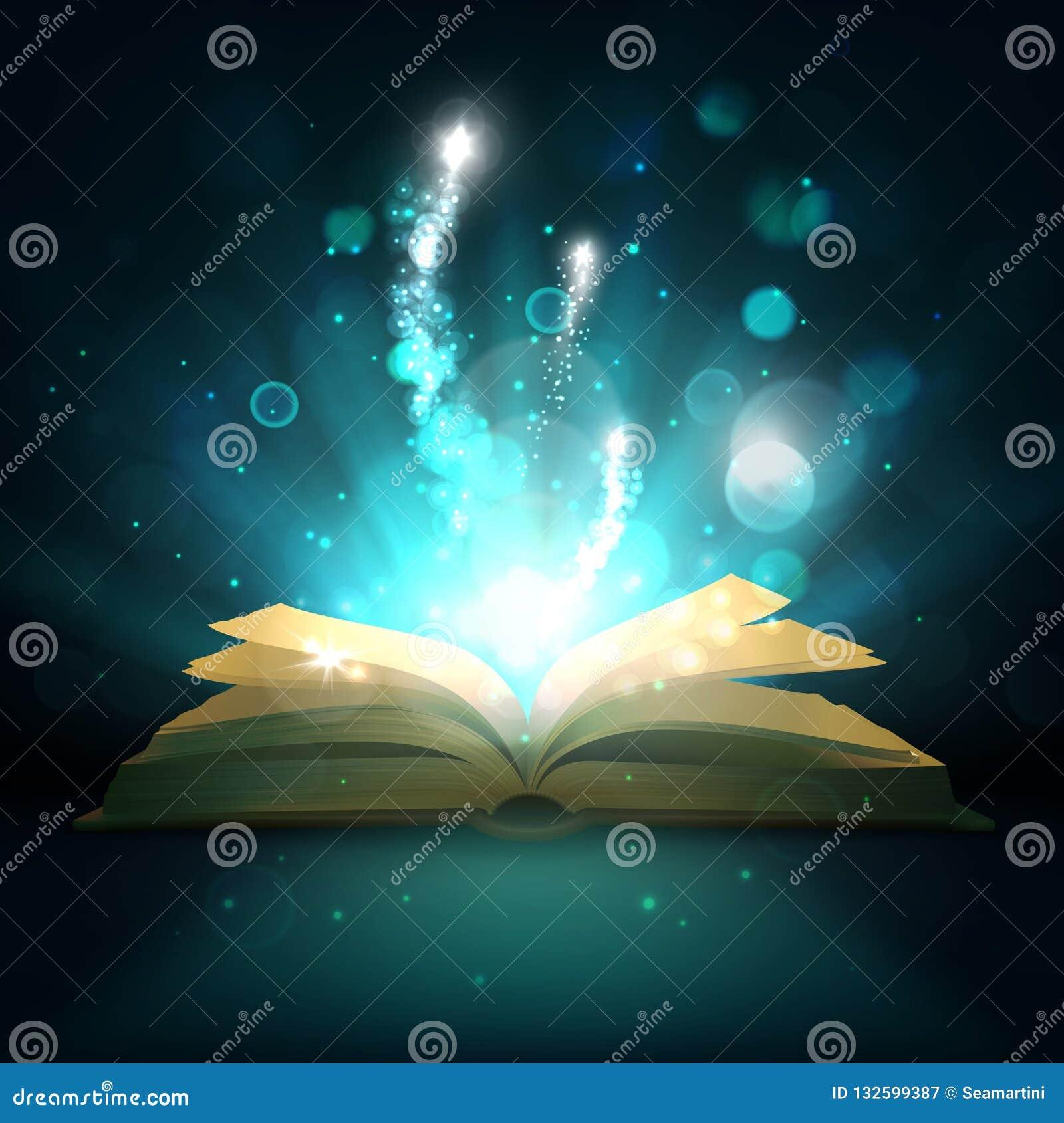 Libro mágico abierto, chispas de la luz del vector