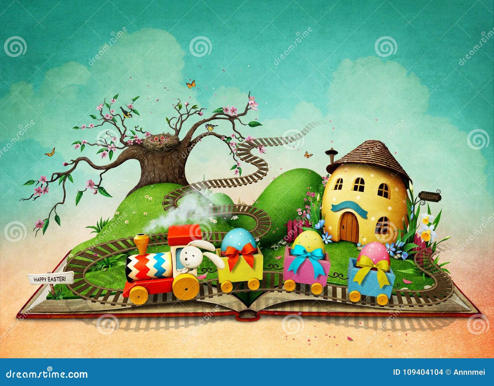 Libro mágico con el tren de Pascua