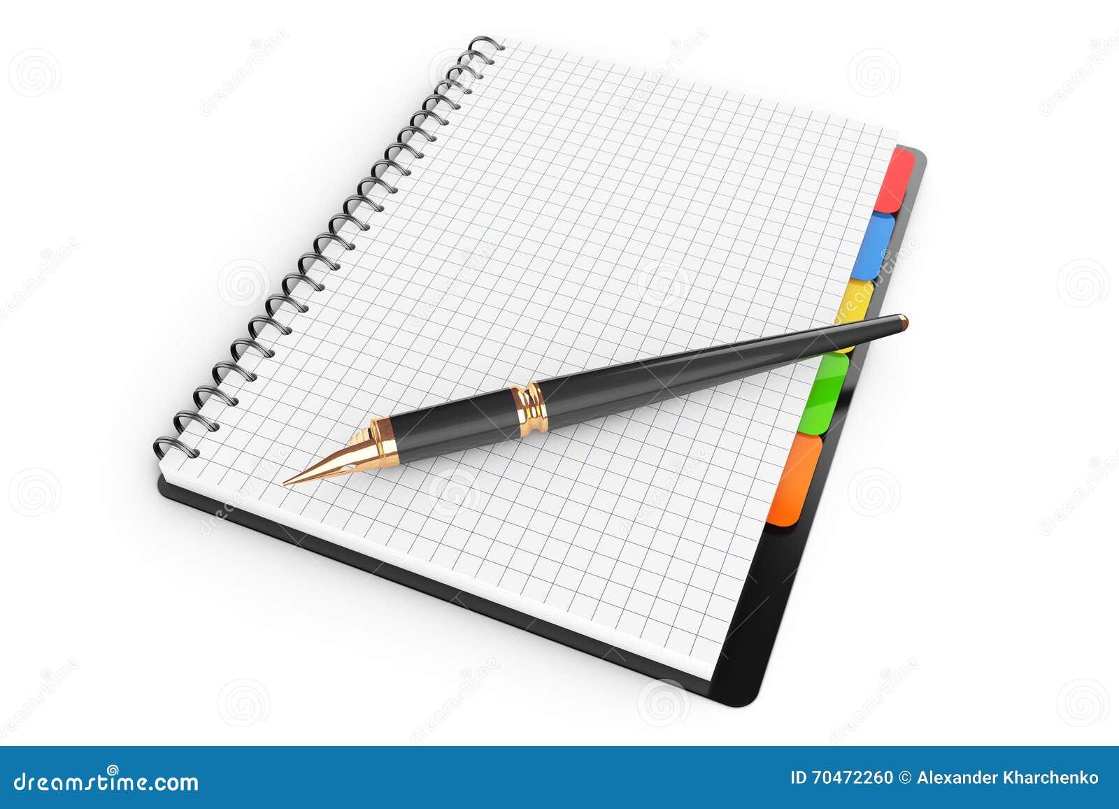 Libro personal del diario o del organizador con las páginas en blanco y la pluma 3d con referencia a