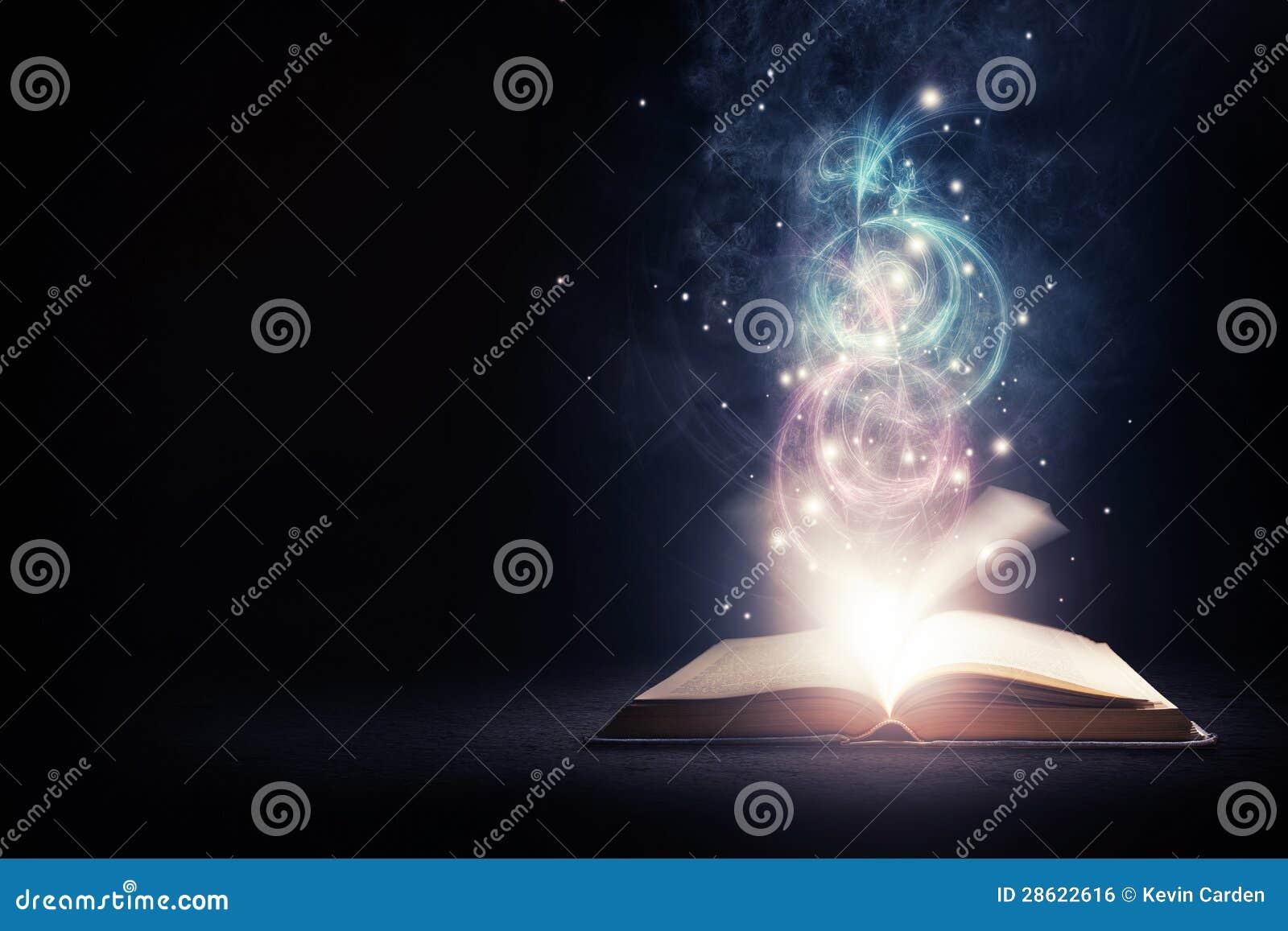 Libro que brilla intensamente con colores