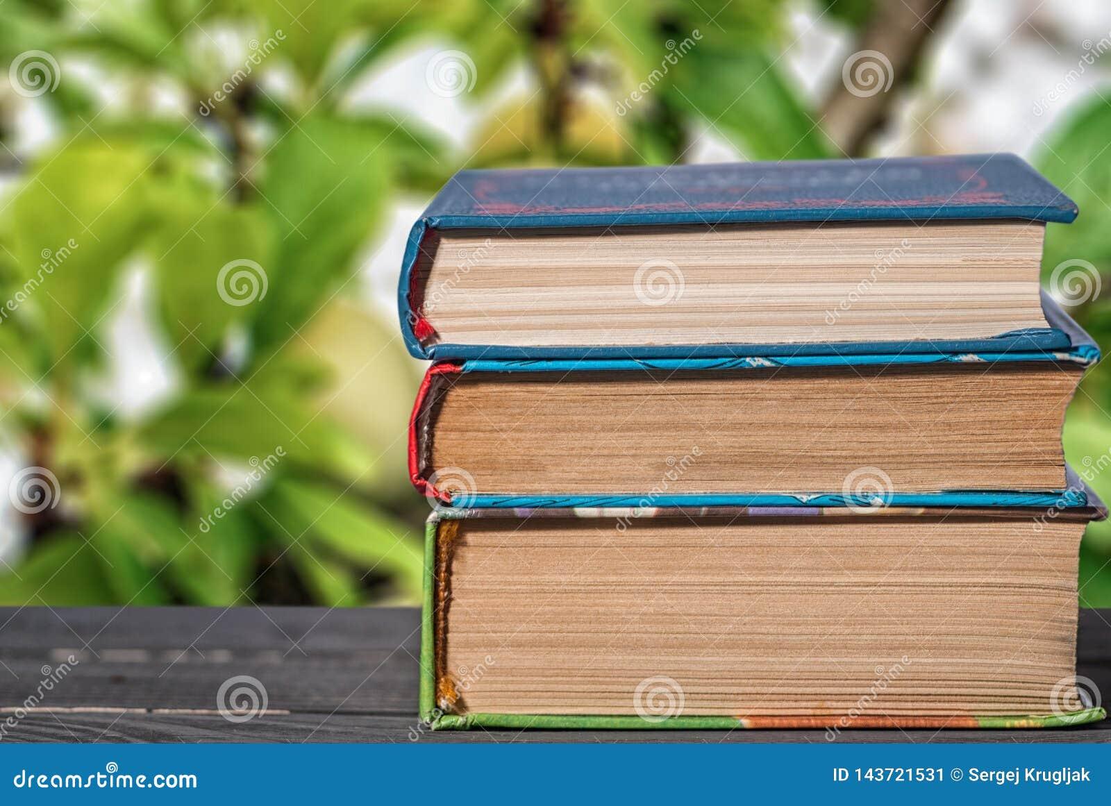 Libros apilados verticalmente en un cierre del escritorio para arriba