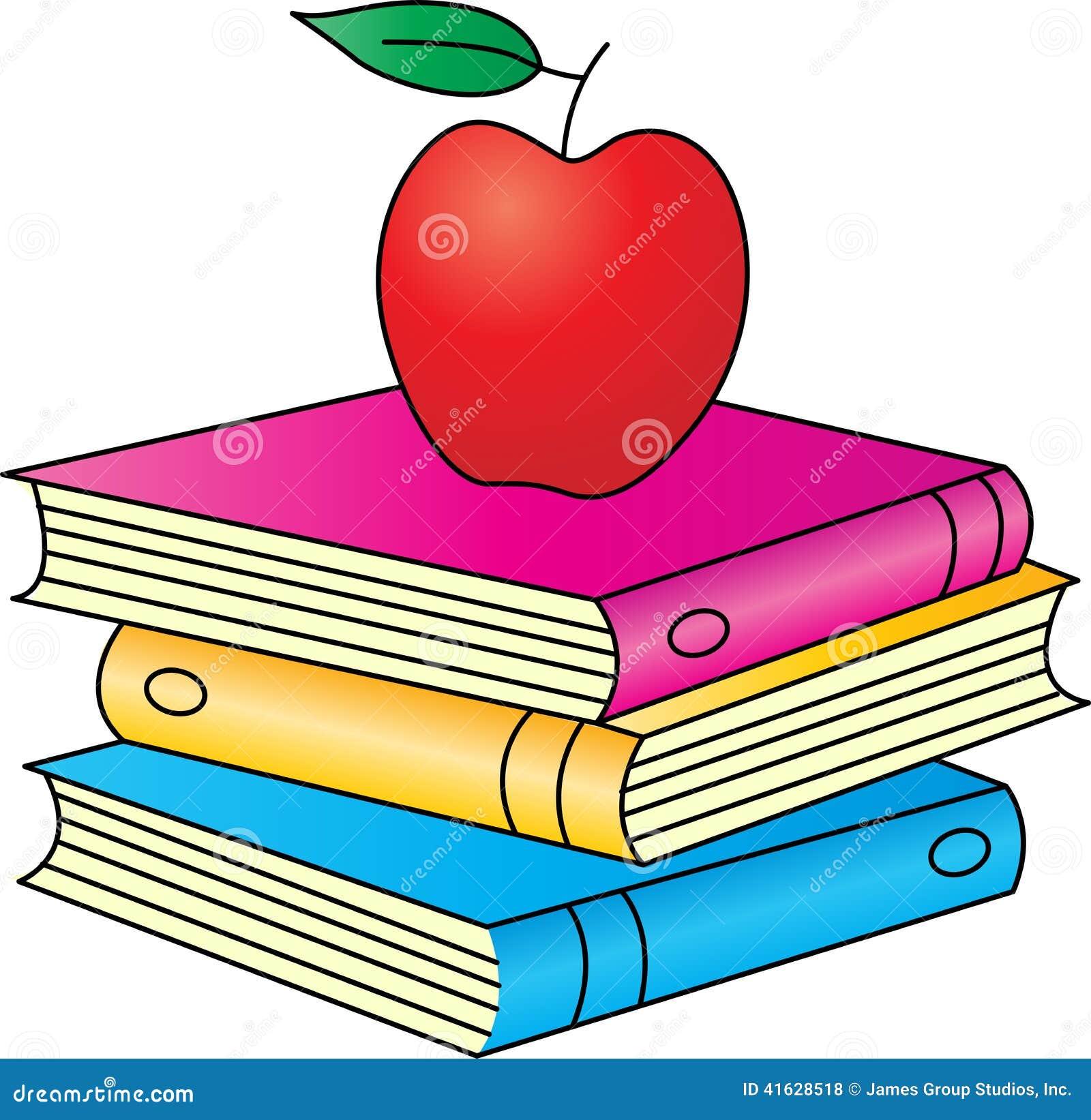 Libros con la manzana ilustraci n del vector imagen - Libros para relajar la mente ...