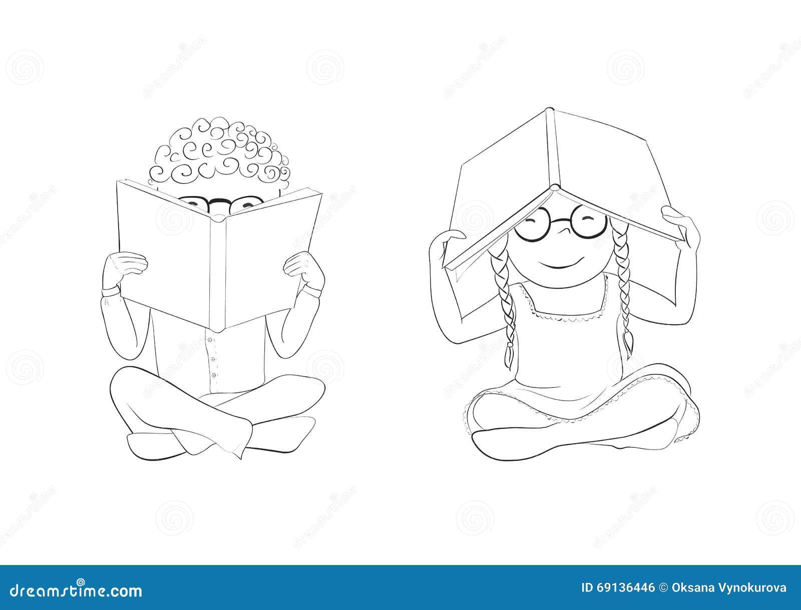 Libros De Lectura Divertidos De Los Niños Del Esquema Para Colorear ...