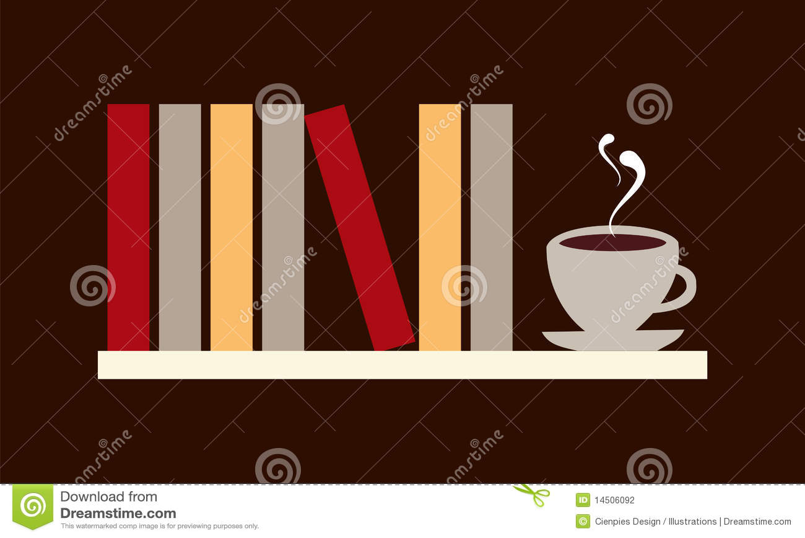 Libros e ilustración del café