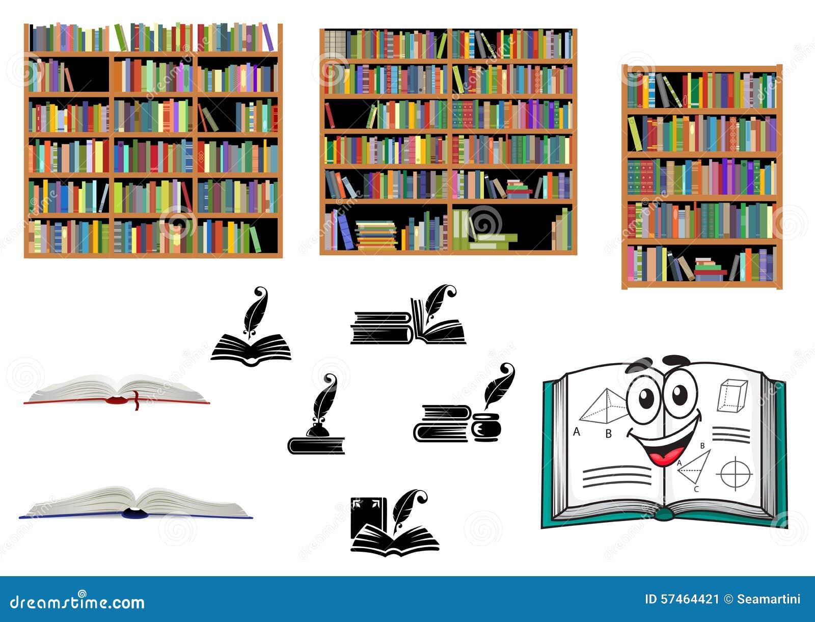 Libros Educación Y Objetos De La Biblioteca Ilustración Del