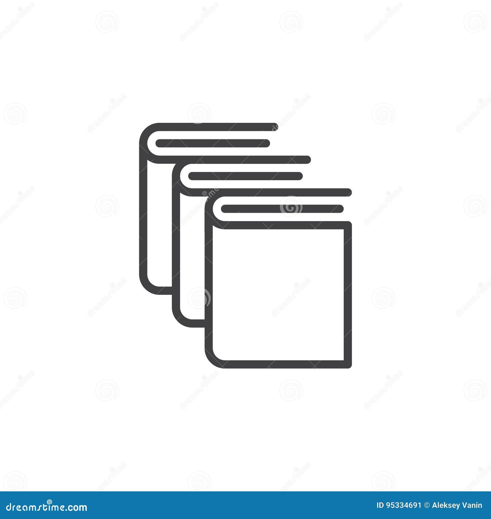 Libros, línea icono, muestra del vector del esquema, pictograma linear de la biblioteca del estilo en blanco
