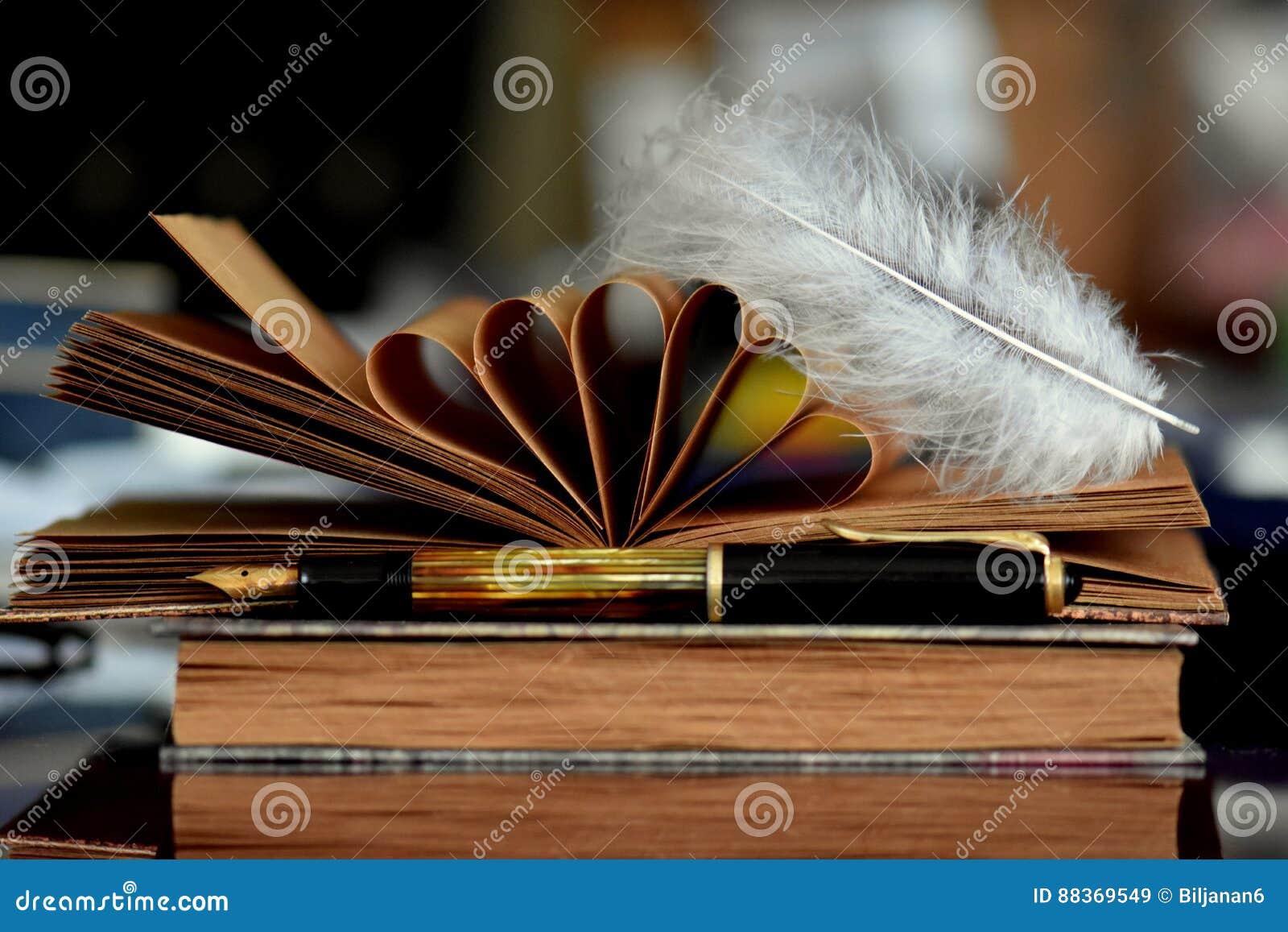 Libros viejos y pluma