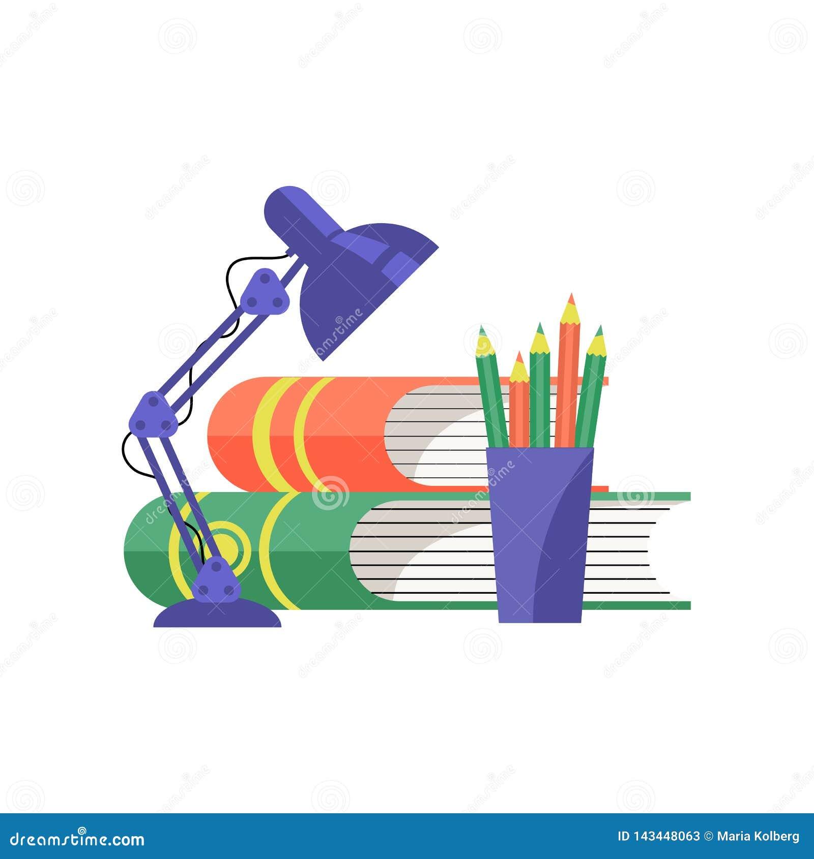 Libros y lámpara de mesa Ilustración del vector