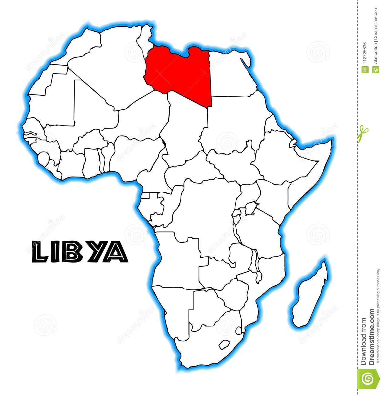 Libya On Africa Map.Libya Africa Map Stock Vector Illustration Of Black 112725636