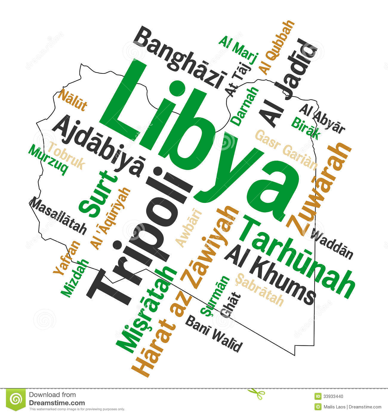 Download Libya map and cities stock vector. Illustration of text - 33933440