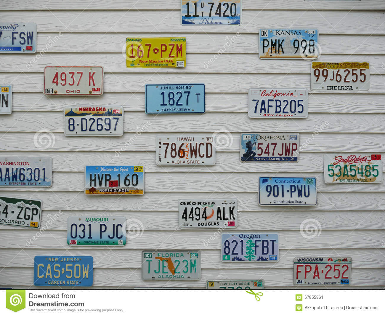 License plate on the wall editorial photo  Image of state