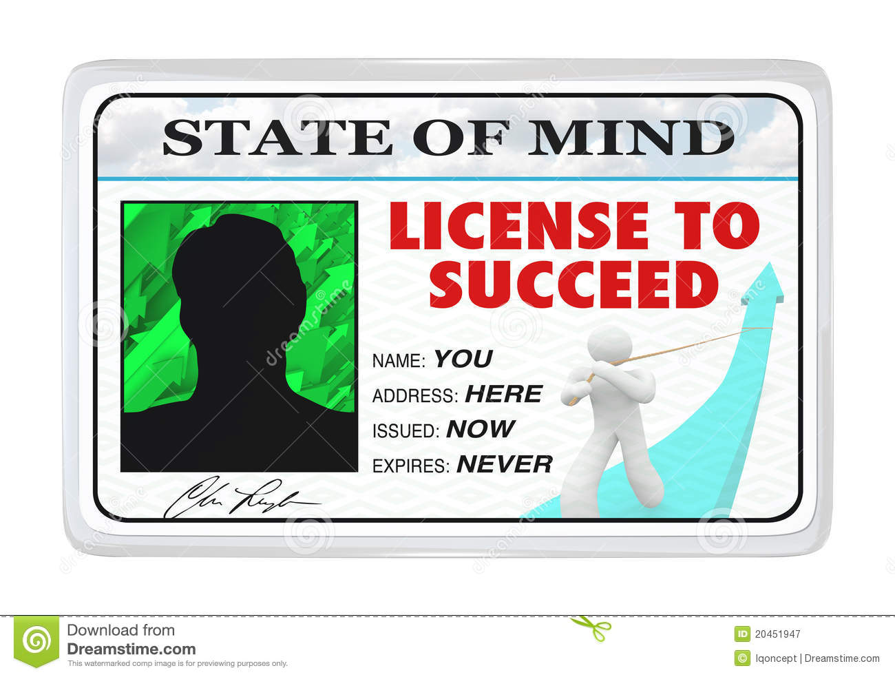 license to win laminated id card stock image