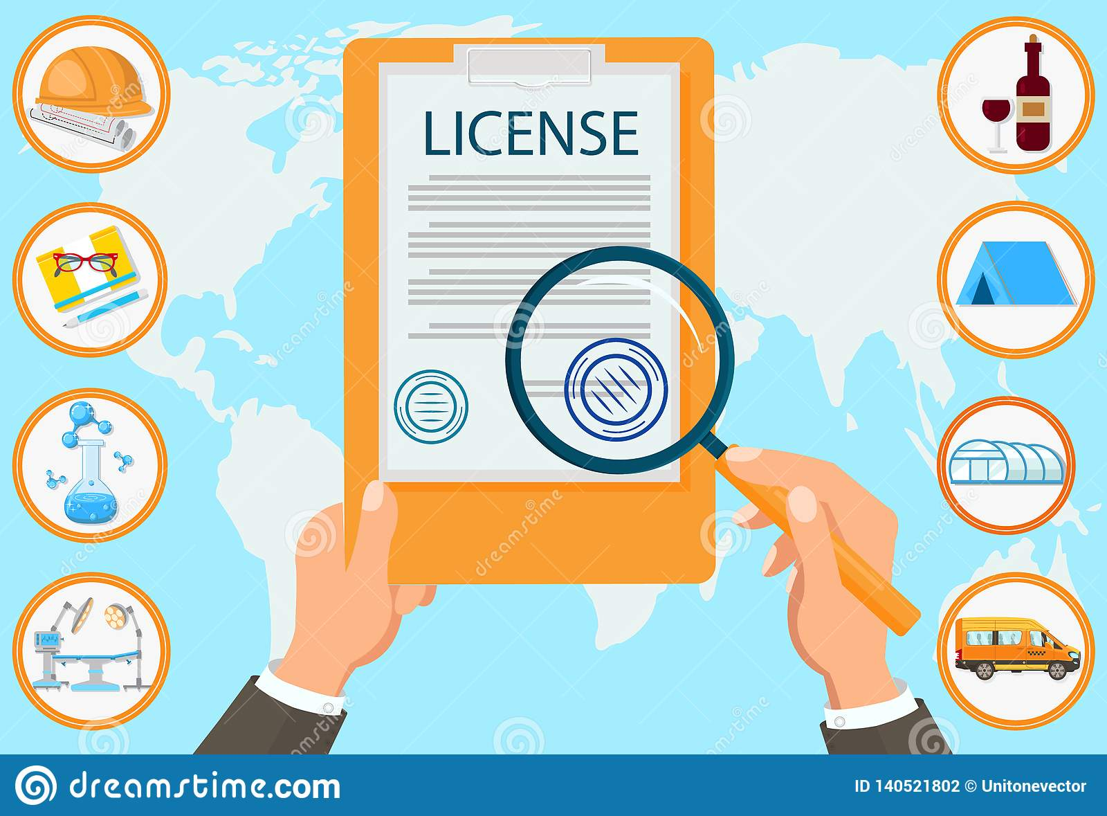 License Law Firm Certified Documents Contract  Stock Vector