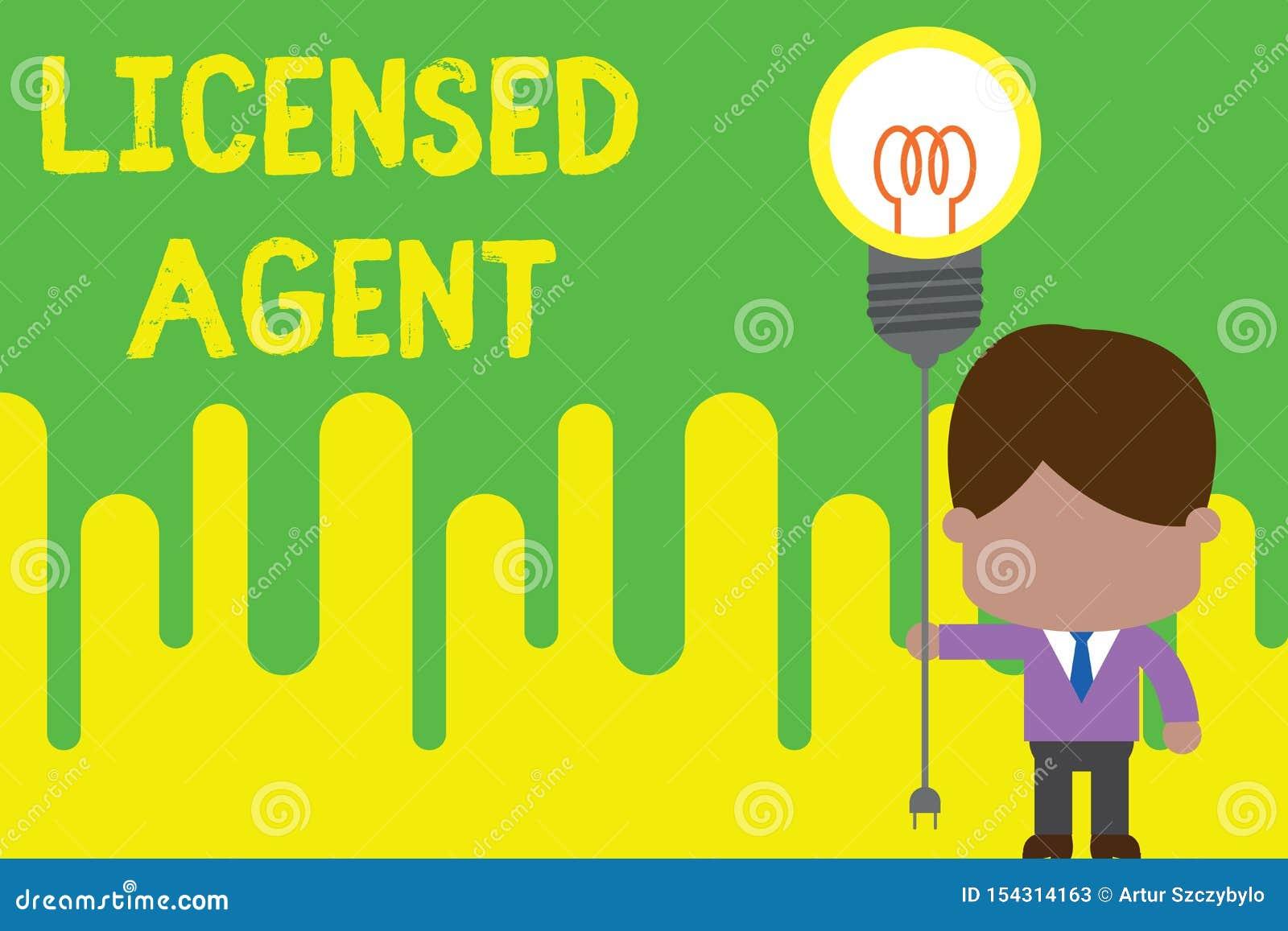 Licensierat medel f?r handskrifttext Behörig och ackrediterad säljare för begreppsbetydelse av försäkringpolitik som står manband