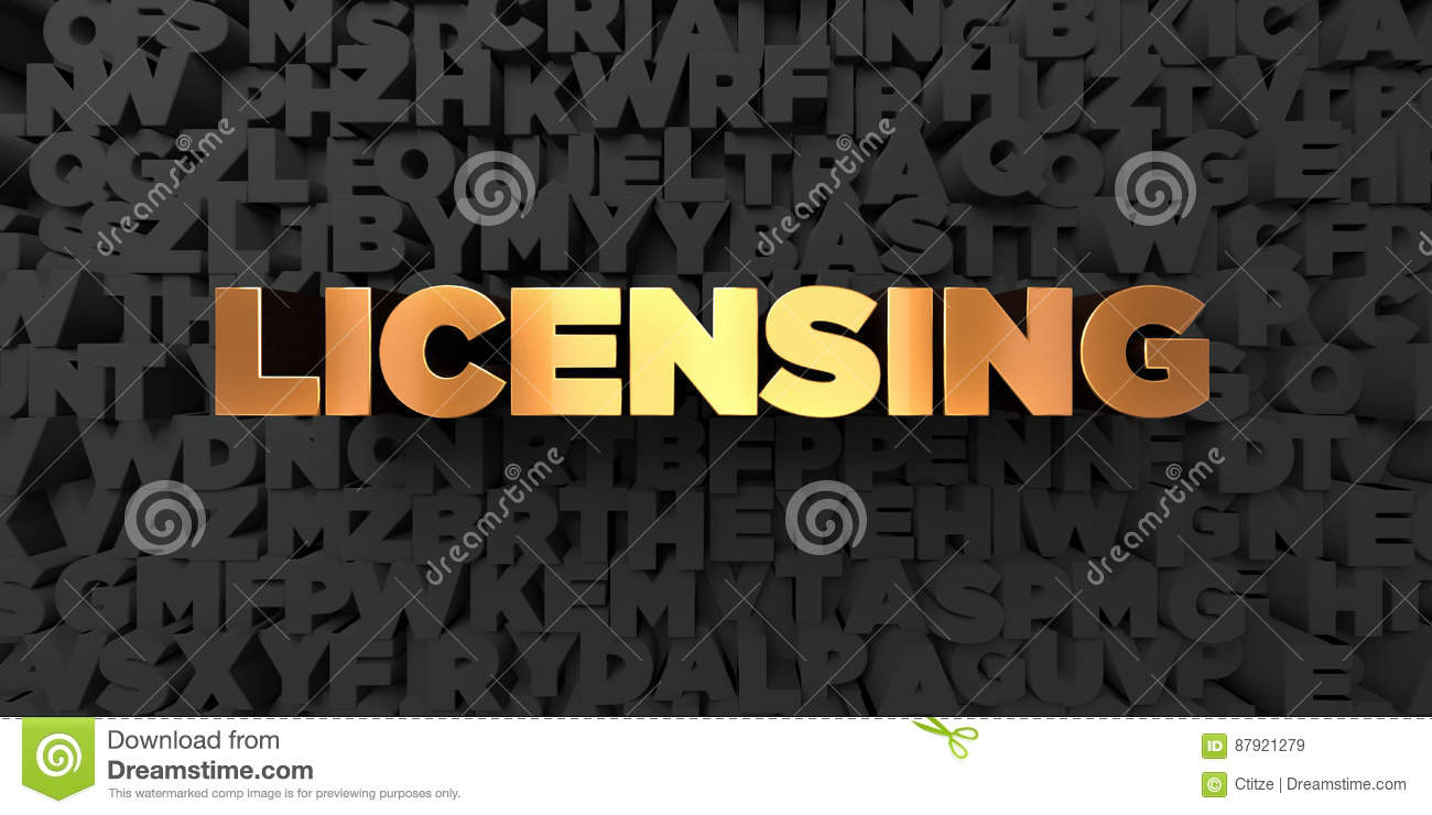 Licensing - Gold text on black background - 3D rendered royalty free stock picture