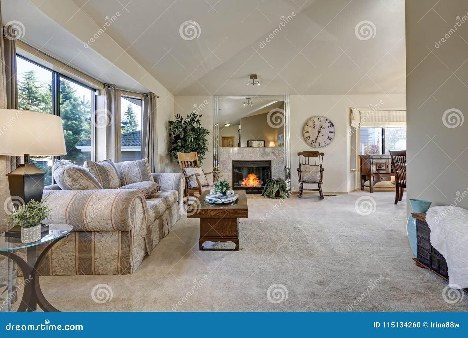 Schommelstoel Aan Plafond.Licht Gevulde Familieruimte Met Gewelfd Plafond Stock Foto
