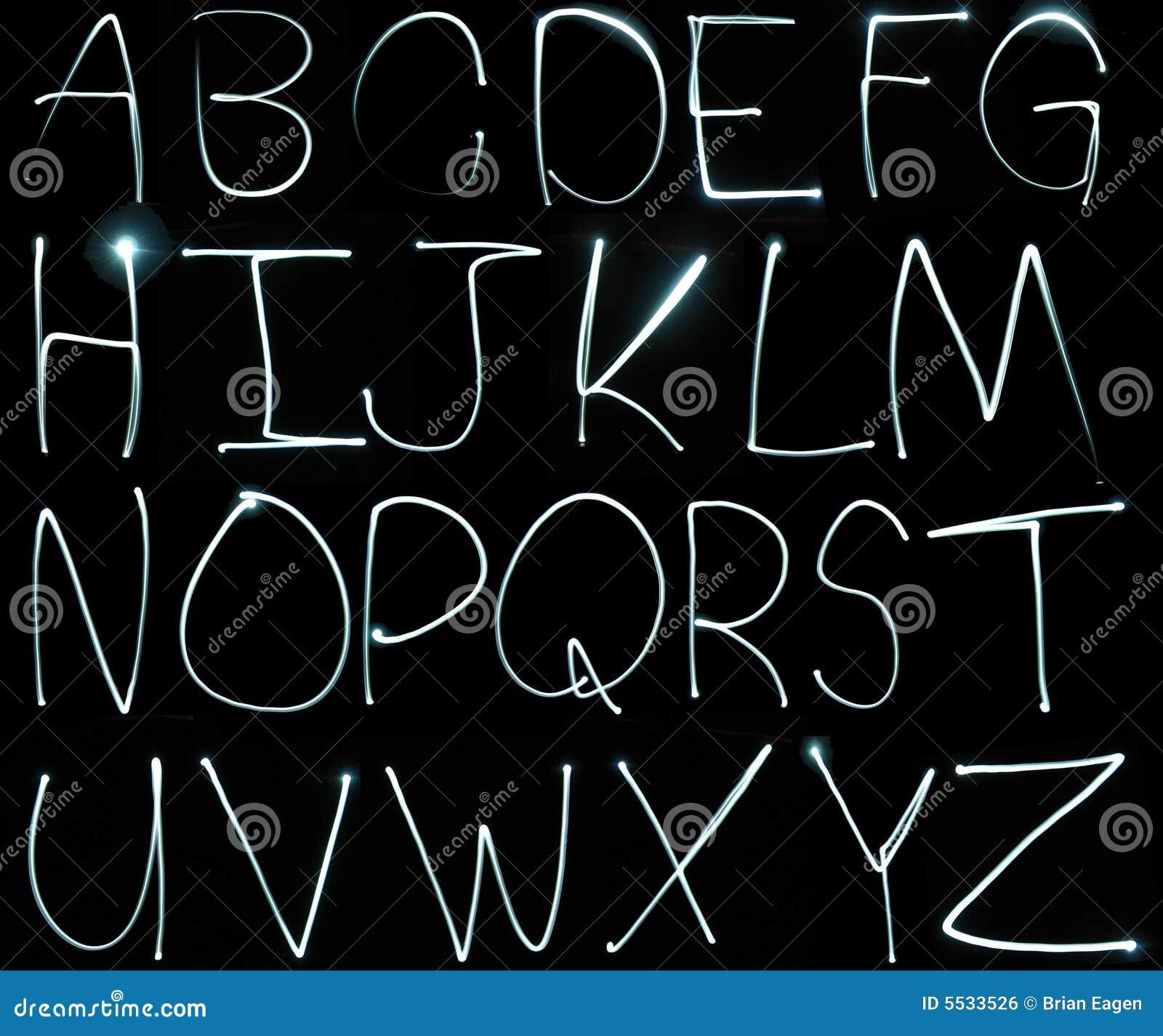 Licht het schilderen alfabet