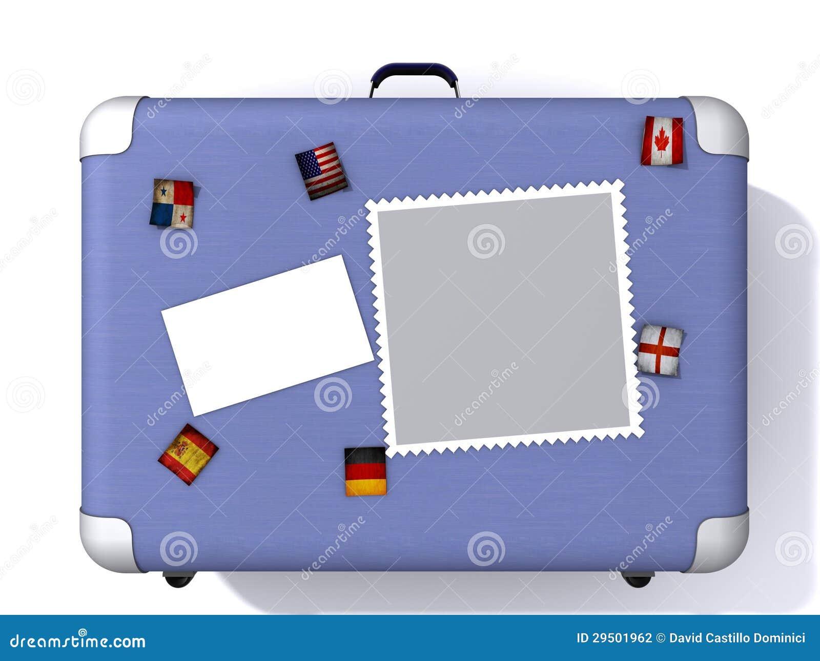 Lichtblauwe die koffer in reisstickers wordt behandeld