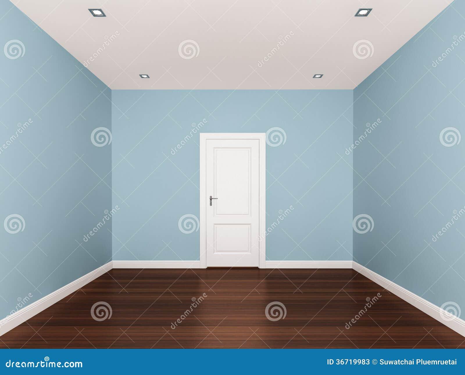 Lichtblauwe Muur Lege Ruimte 3d Binnenland Stock