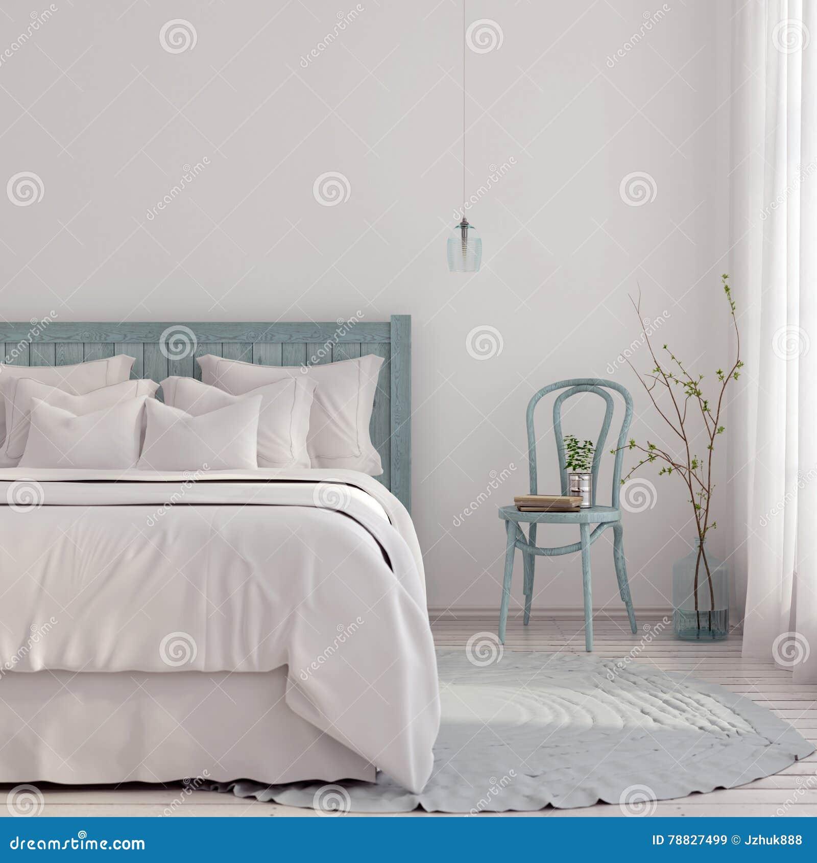 Lichtblauwe slaapkamer stock afbeelding. Afbeelding bestaande uit ...