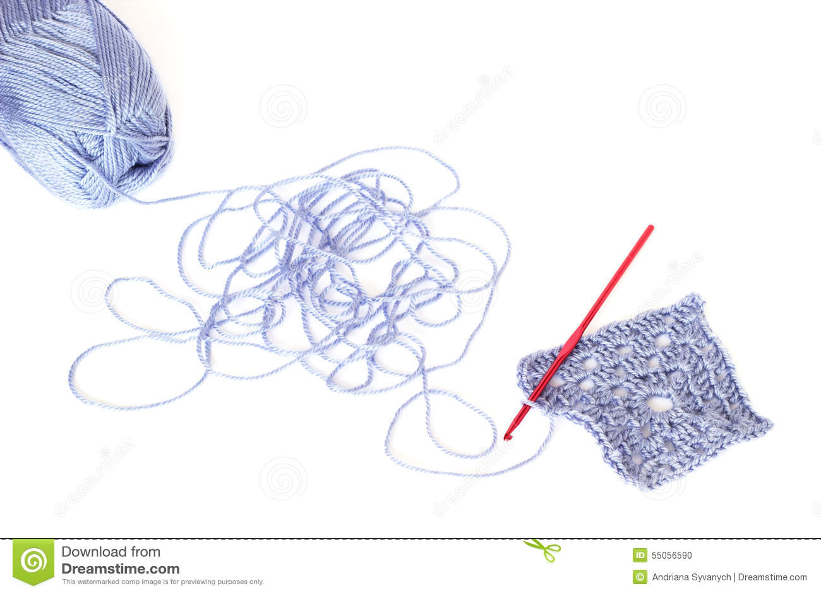 Lichtblauwe streng van acryldraad met het afgewikkelde koord, squa