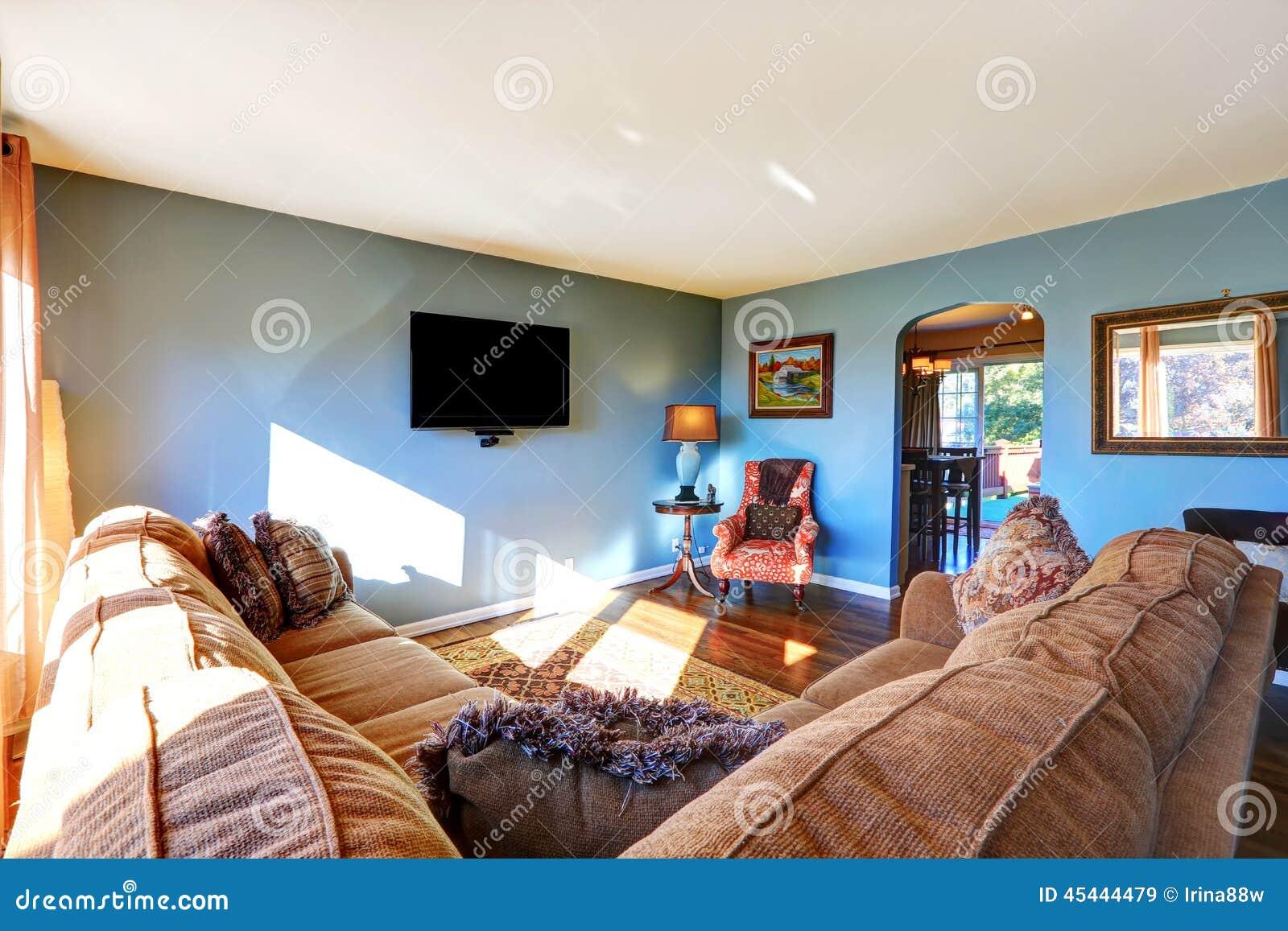 Blauwe woonkamer stock afbeeldingen   afbeelding: 32075024