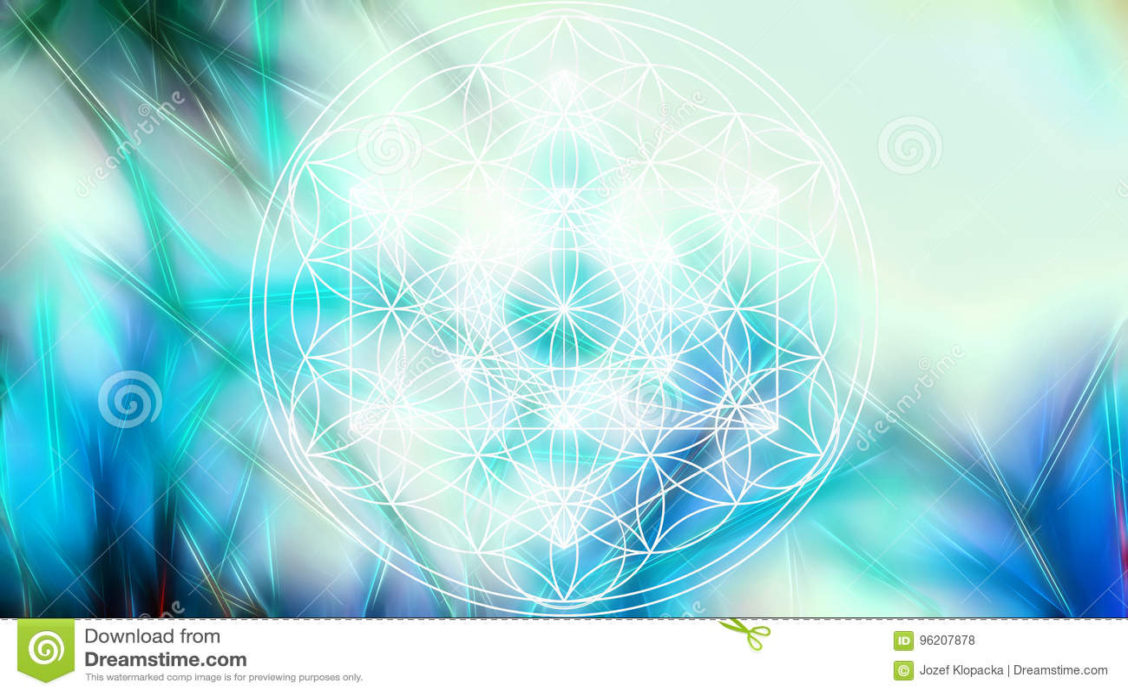 Lichte merkaba en Bloem van het leven op abstracte kleurenachtergrond en fractal structuur Heilige Meetkunde