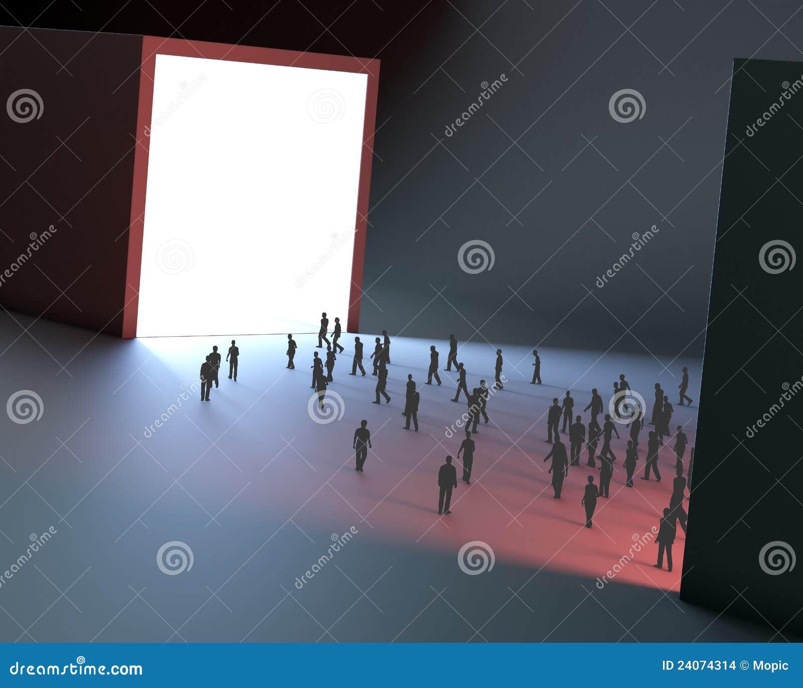 Lichte tunnel uiterst kleine mensen