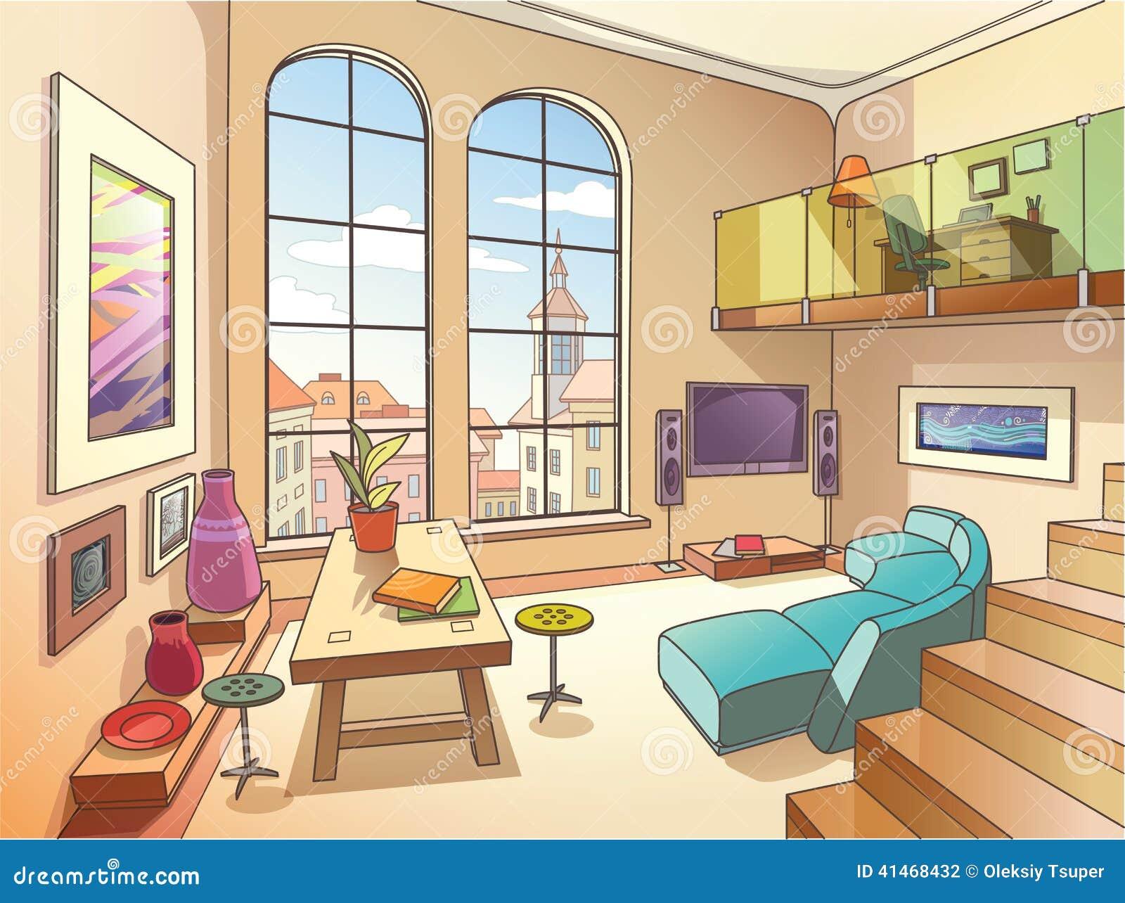 Lichte woonkamer met mezzanine vector illustratie afbeelding 41468432 - Mezzanine woonkamer ...