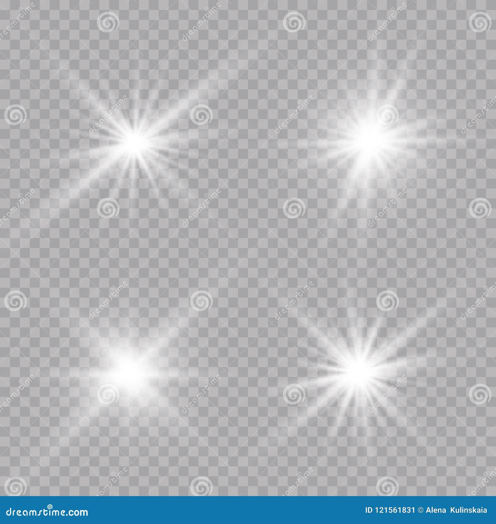 Lichteffekt des transparenten Sonnenlichtblendenflecks Stern-Explosion mit Scheinen Auch im corel abgehobenen Betrag
