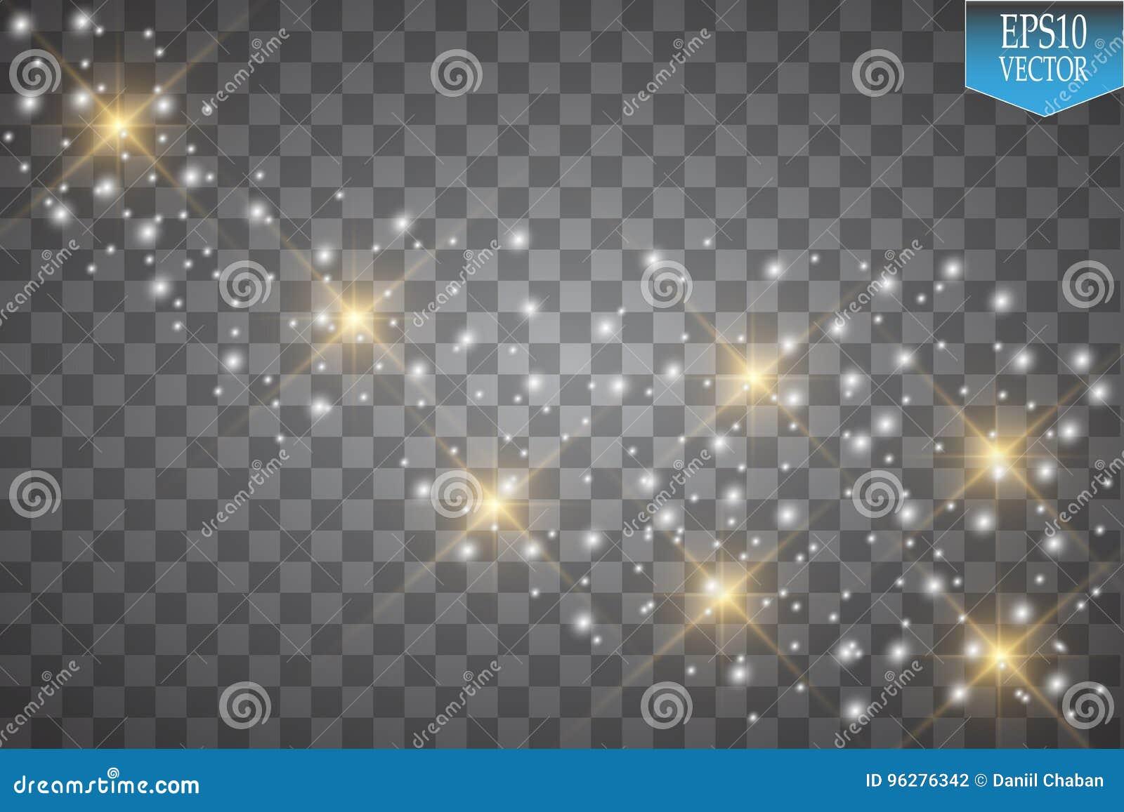 Lichten op transparante achtergrond Het vectorwit schittert golf abstracte illustratie Het witte de sleep van het sterstof fonkel