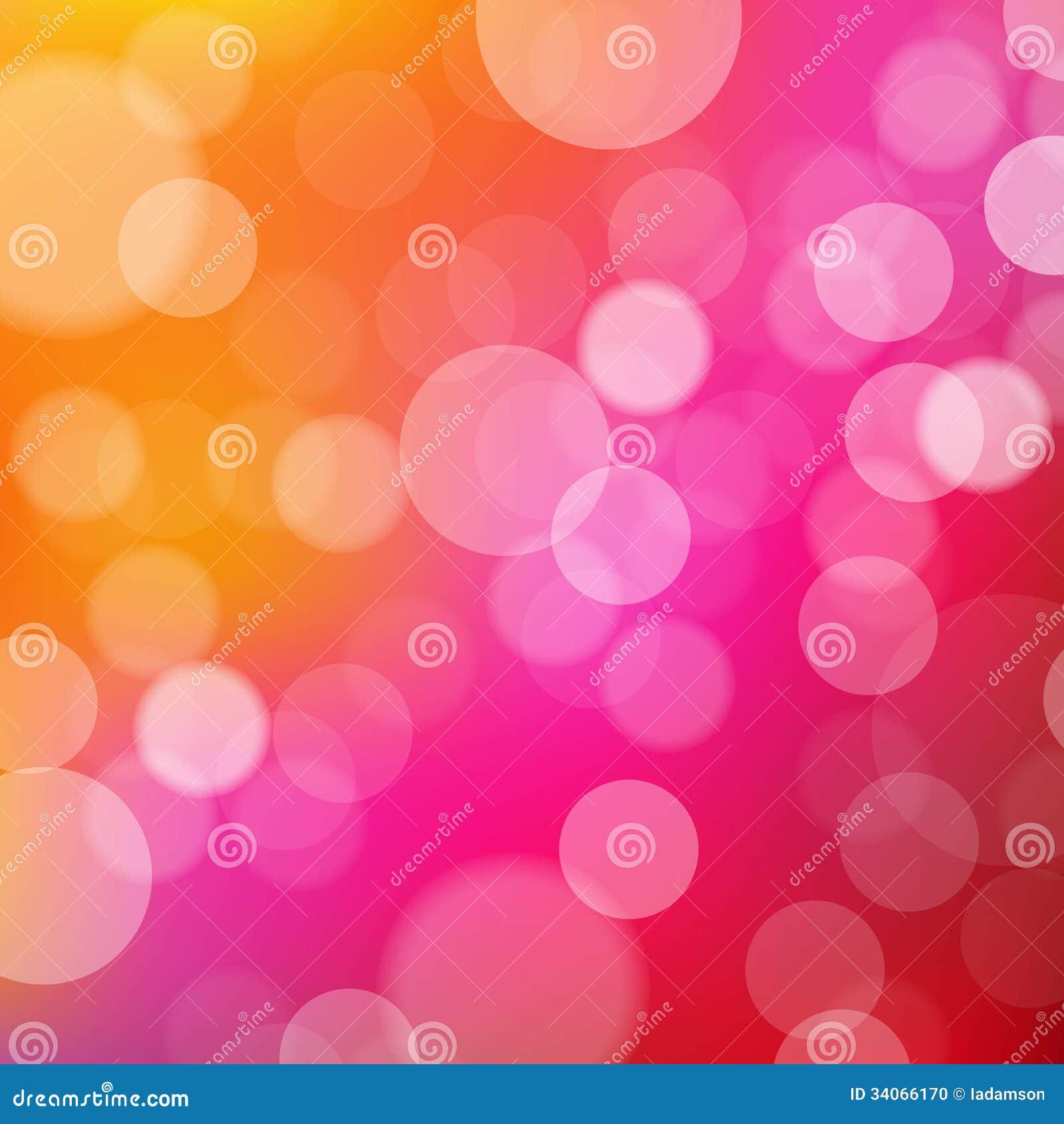 Lichten oranje en roze achtergrond met bokeh stock foto ...