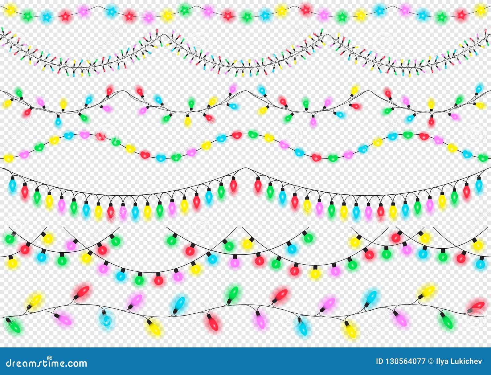 Lichterkette, Gestaltungselemente, lokalisiert Glühende Lichter für Weihnachten, Geburtstag, neues Jahr, Grußkartenentwurf, Fahne