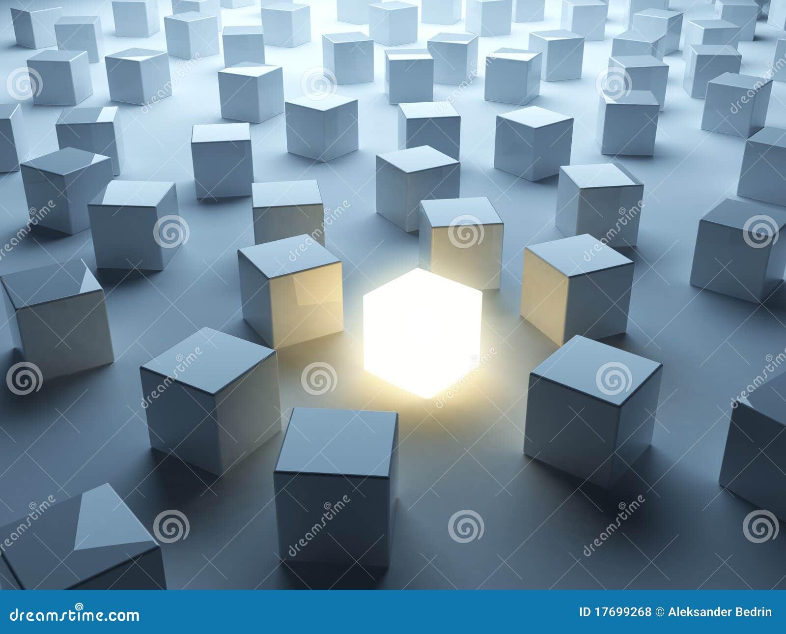 Lichtgevende kubus. Individualiteit