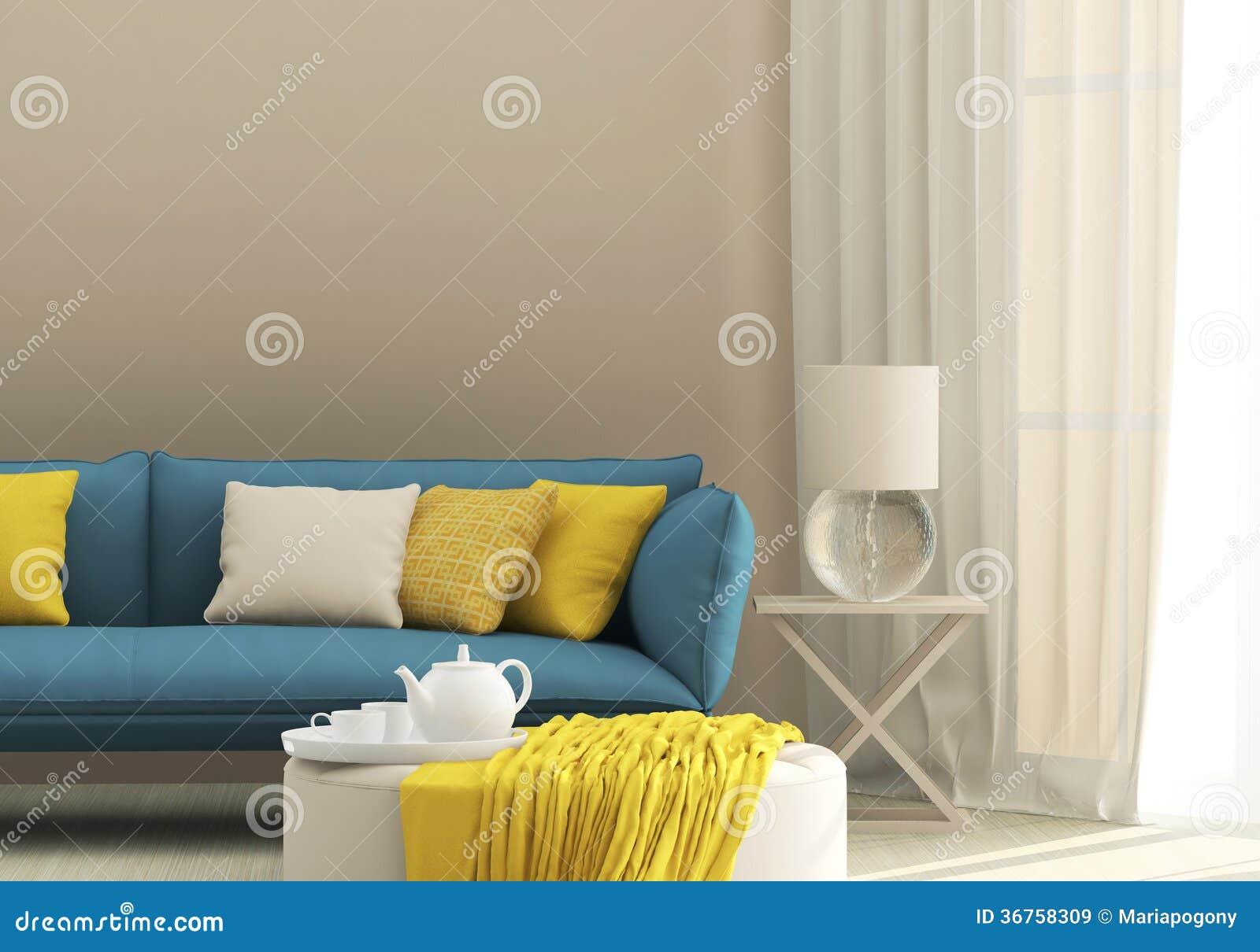 Lichtinnenraum mit blauem Sofa