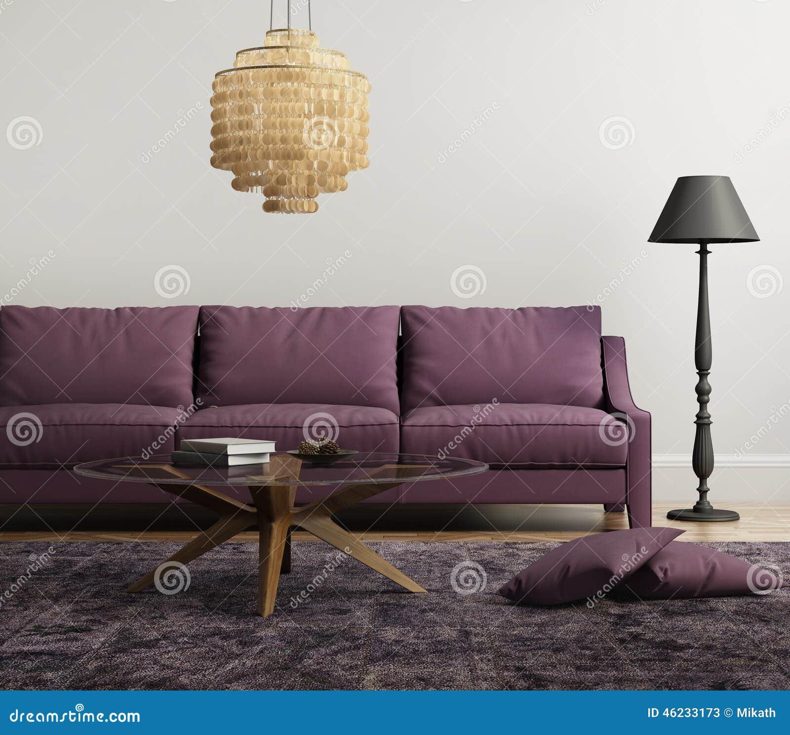 Lichtpaarse elegante modieuze woonkamer stock foto   afbeelding ...