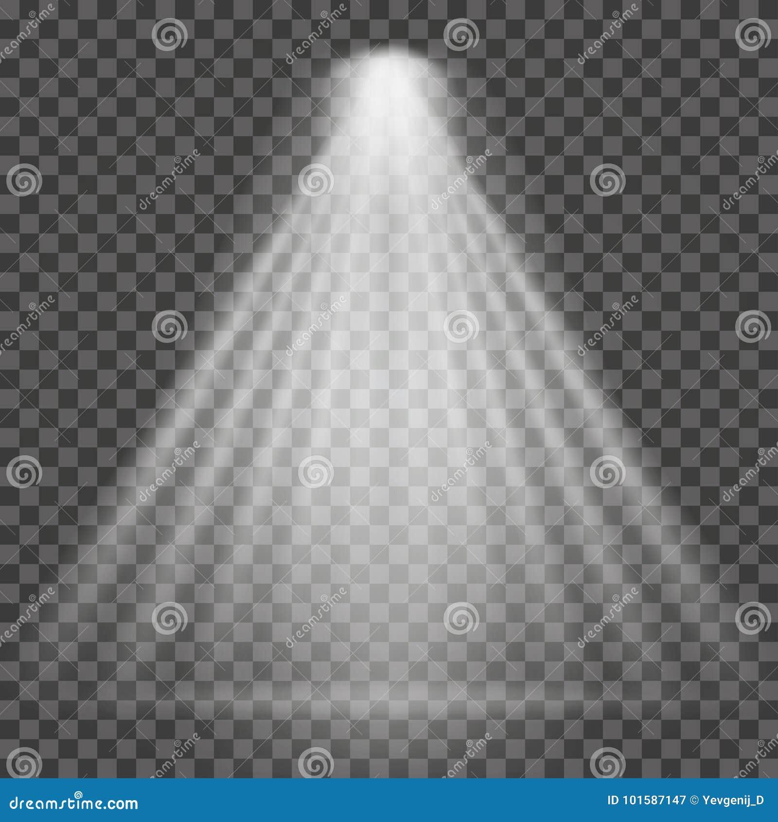 Lichtstraal op transparante achtergrond Heldere schijnwerper lichtstraal voor zoeklicht, scèneverlichting