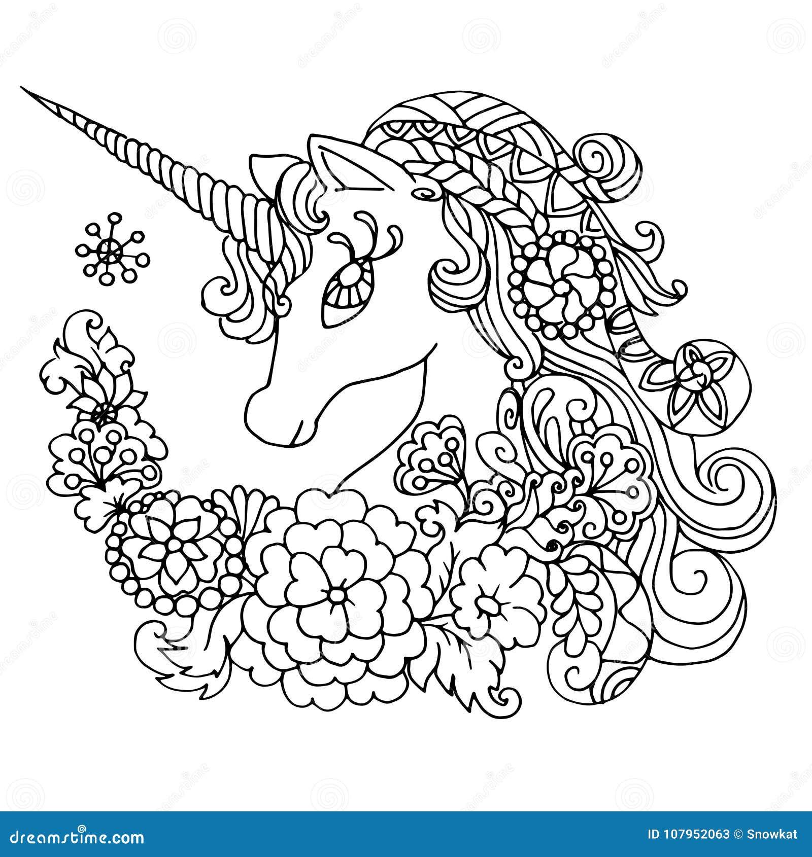 Coloriage Adulte Licorne.Licorne Blanche Fabuleuse De Livre De Coloriage Illustration De