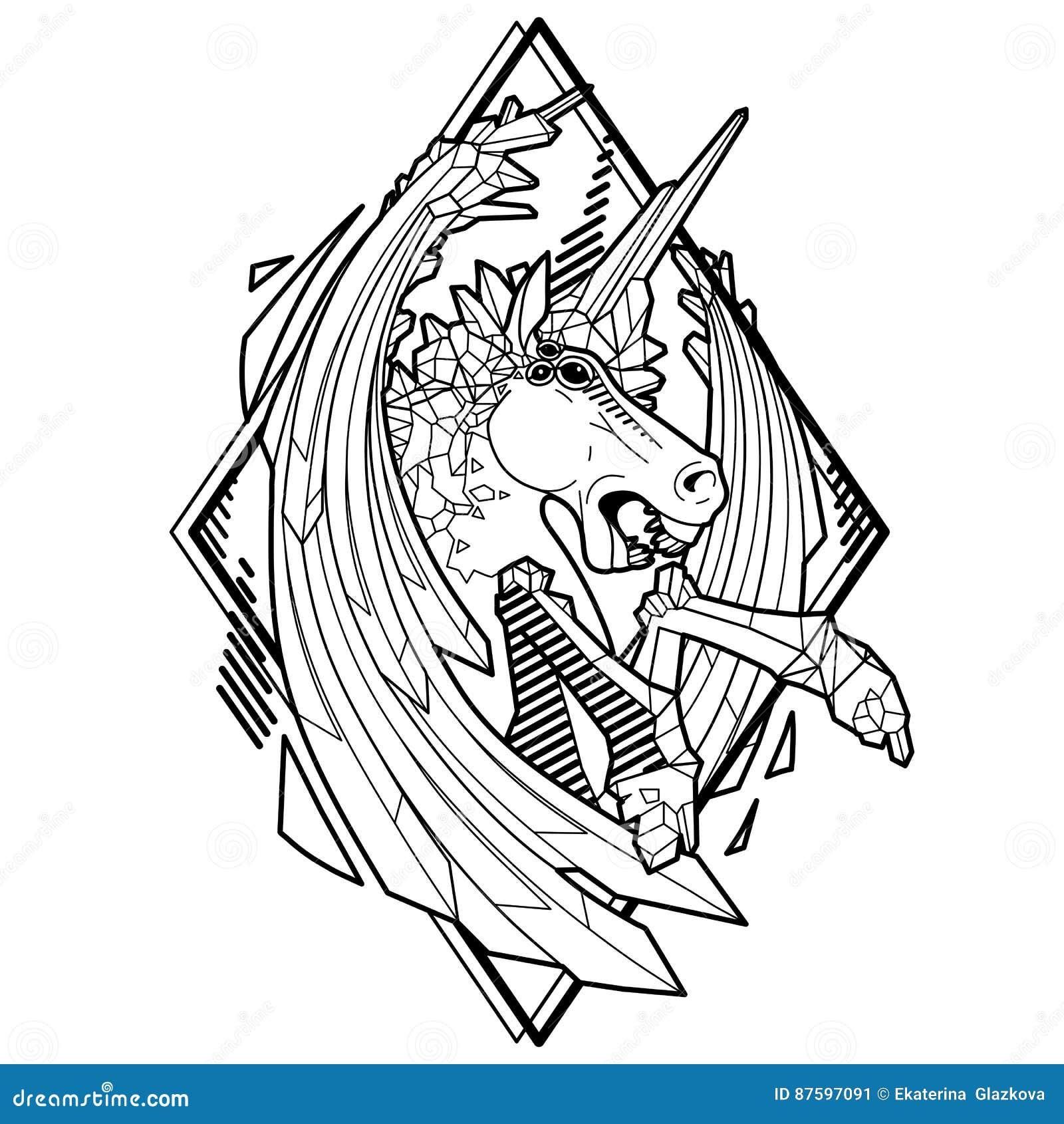 Licorne Demoniaque Graphique Illustration De Vecteur