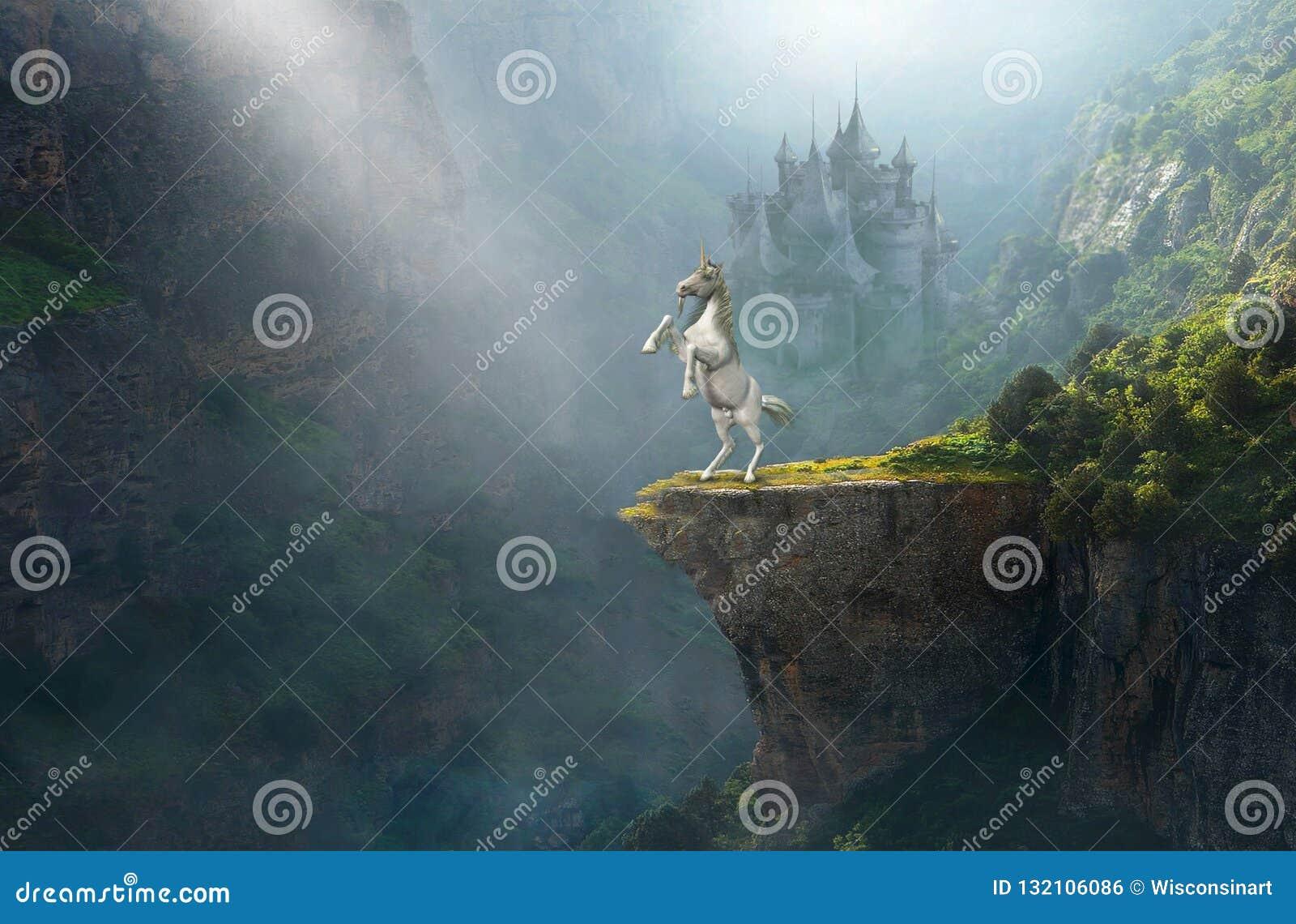 Licorne d imagination, château en pierre médiéval