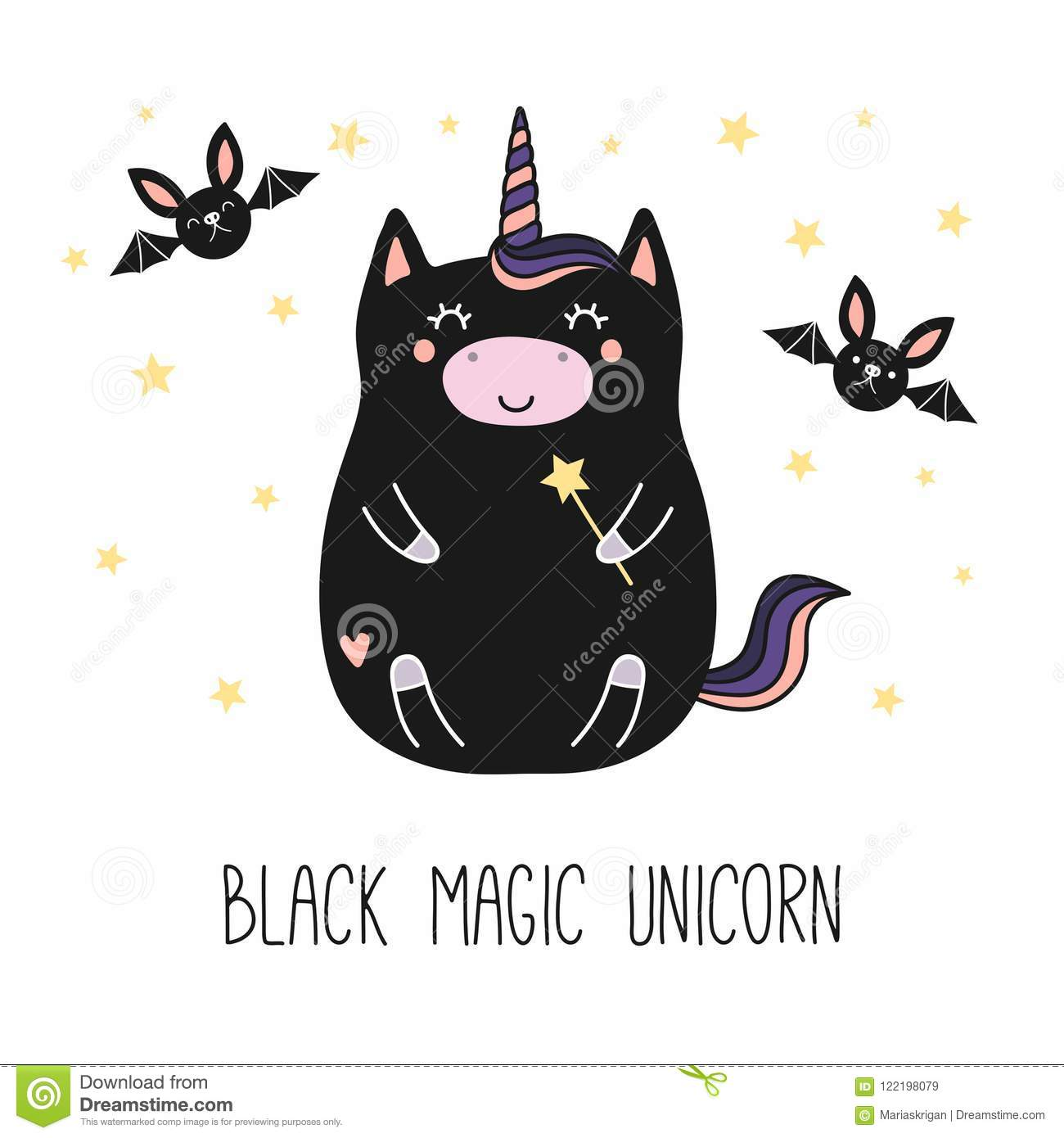 Licorne De Noir De Kawaii Illustration De Vecteur